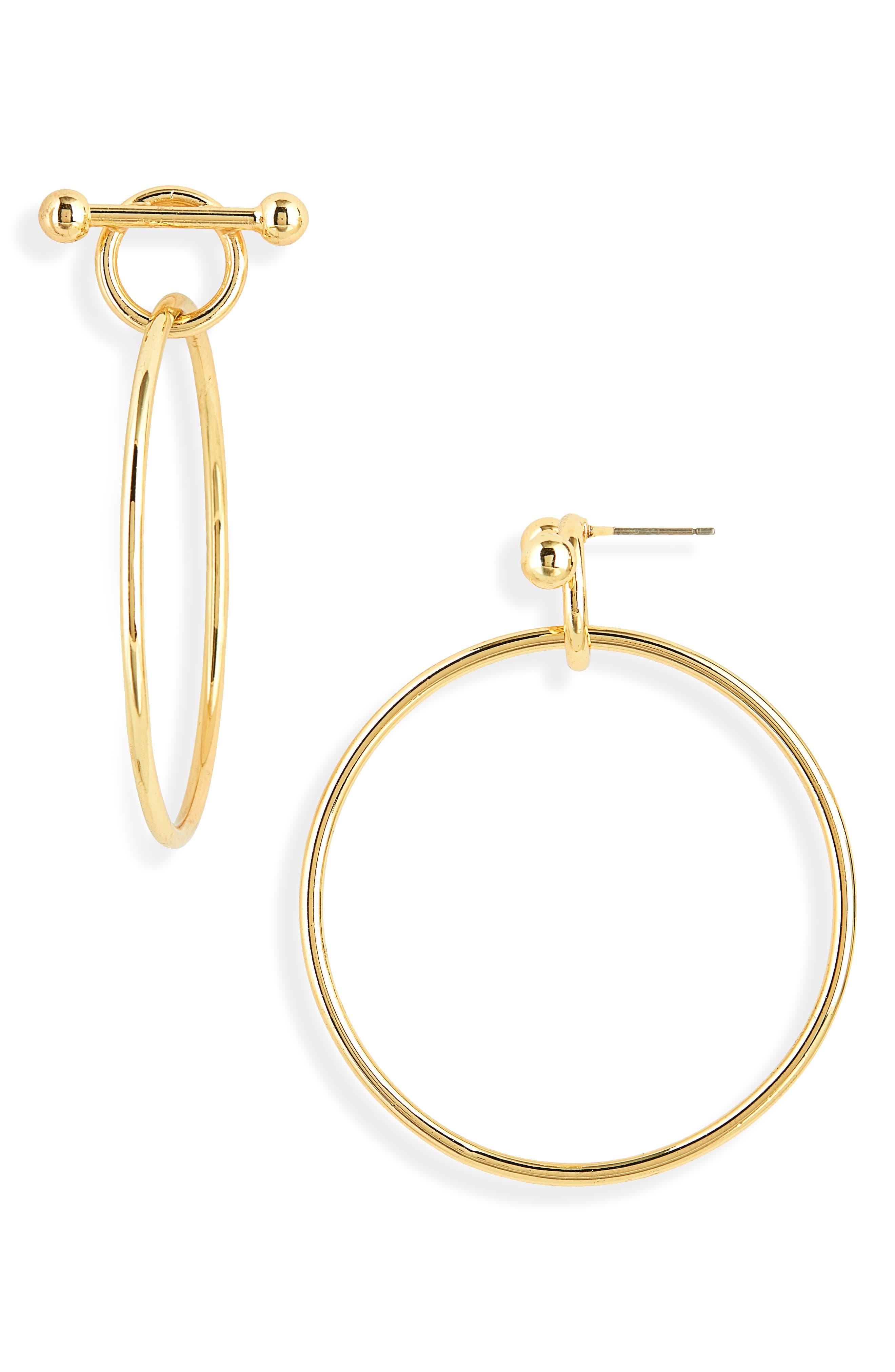 STELLA + RUBY, Double Circle Drop Hoop Earrings, Main thumbnail 1, color, 710