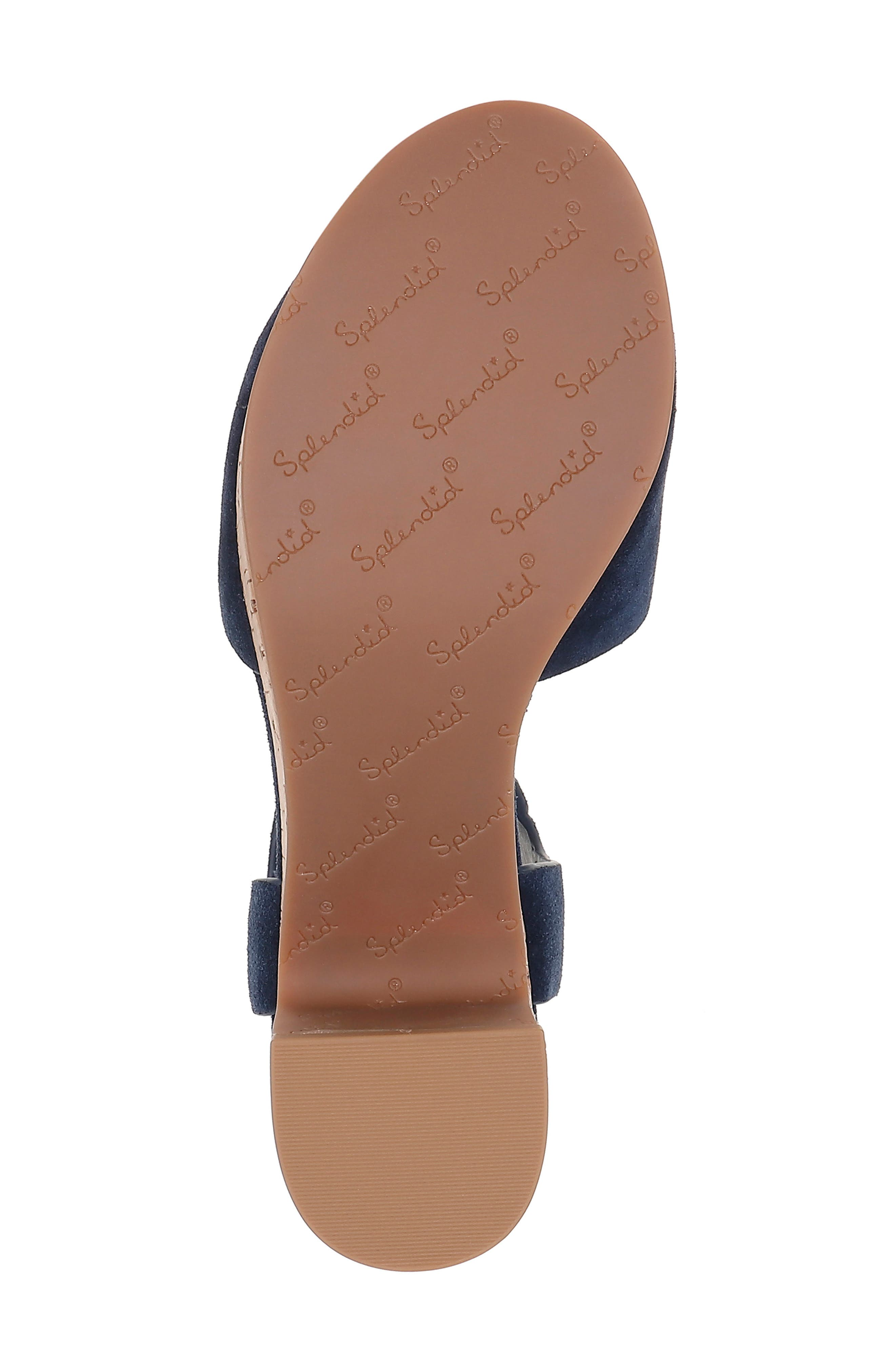 SPLENDID, Thatcher Platform Ankle Strap Sandal, Alternate thumbnail 6, color, NAVY SUEDE