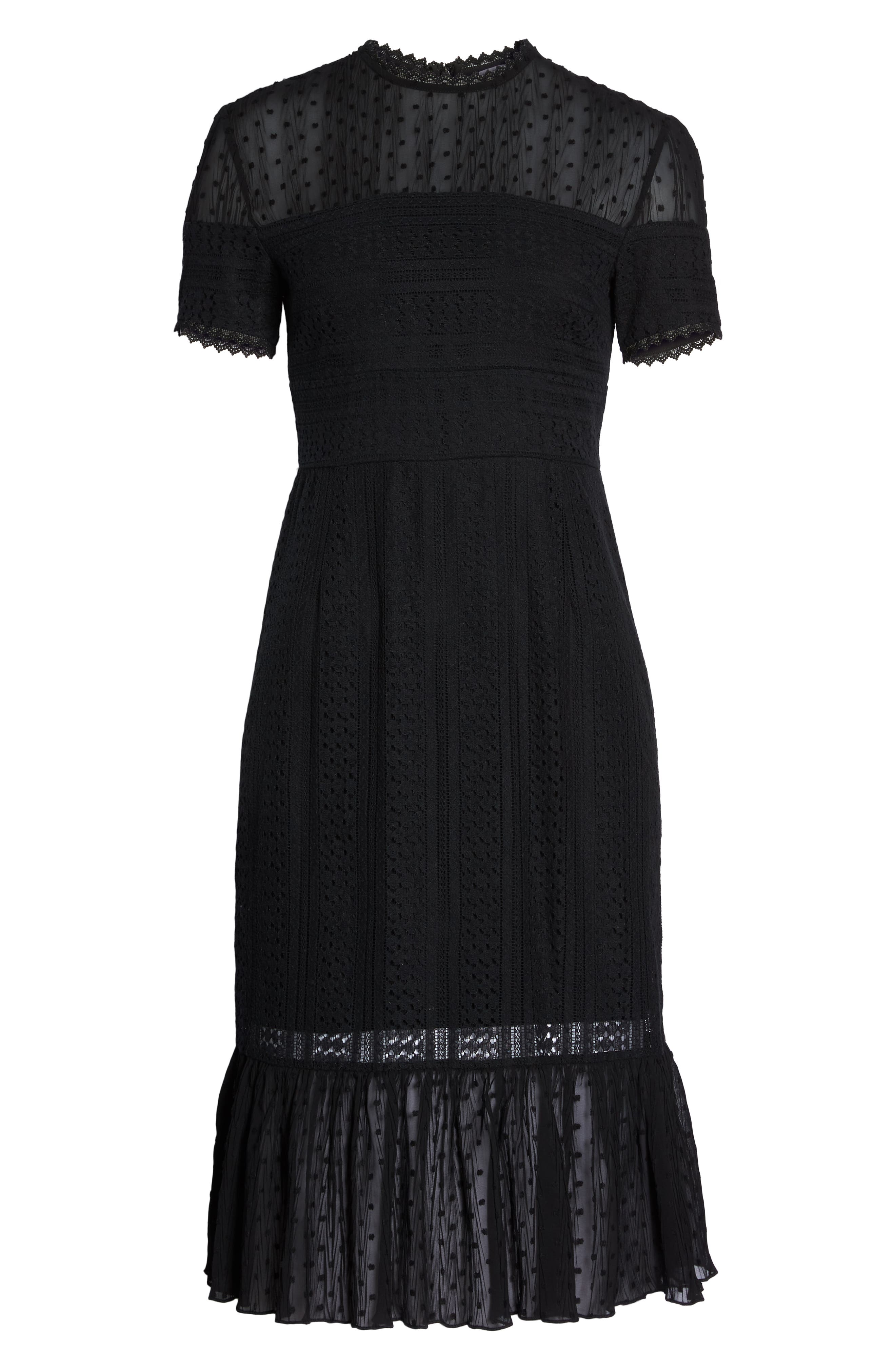 CHELSEA28, Lace & Swiss Dot Dress, Alternate thumbnail 7, color, 001