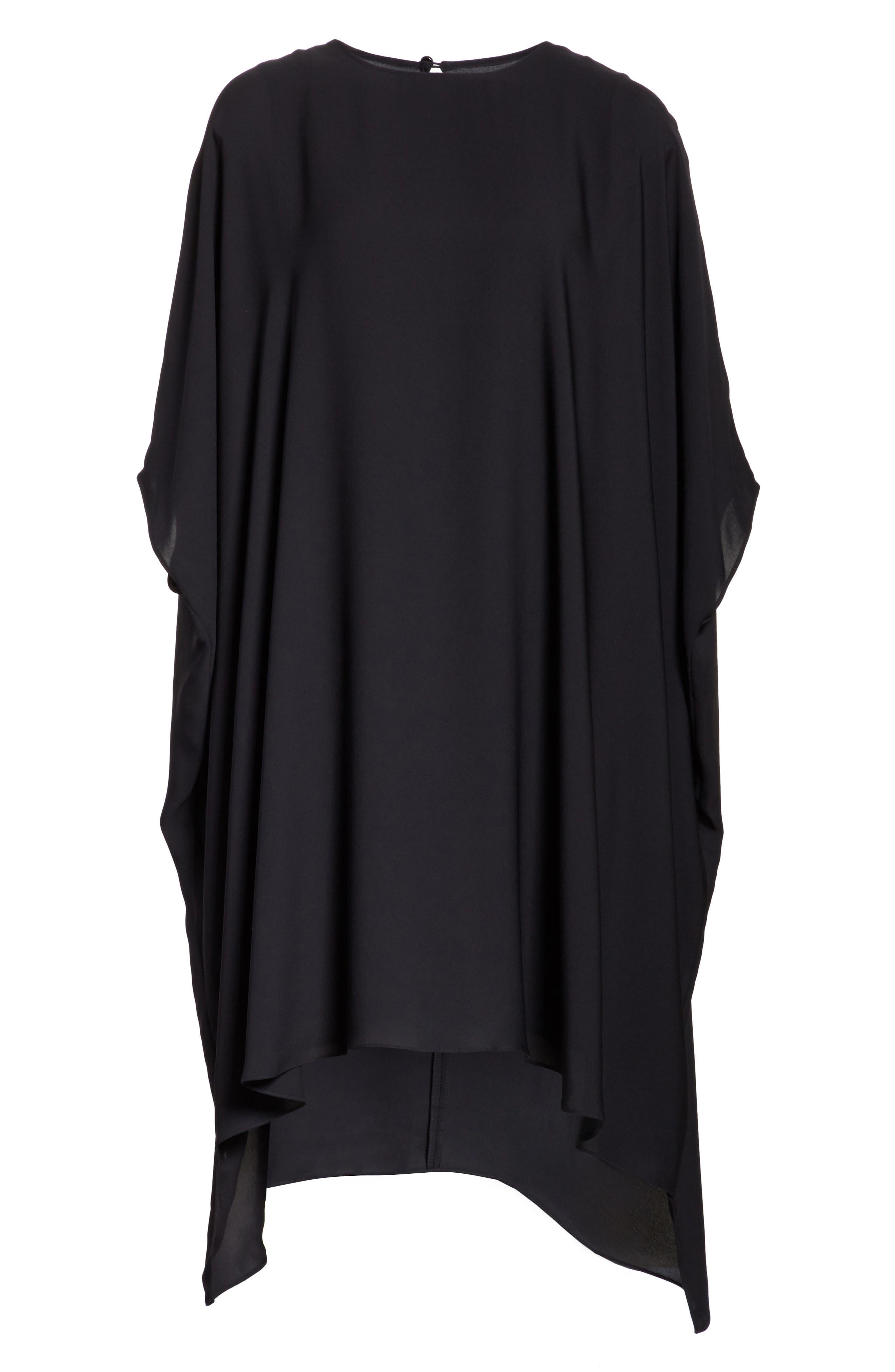 ST. JOHN COLLECTION, Double Silk Georgette Draped Dress, Alternate thumbnail 7, color, CAVIAR