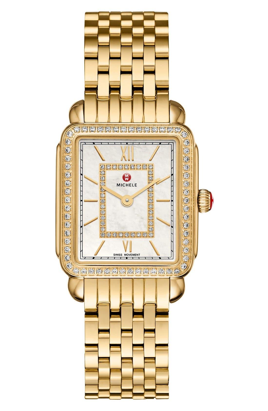 MICHELE, Deco II Diamond Dial Watch Case, 26mm x 28mm, Alternate thumbnail 4, color, GOLD