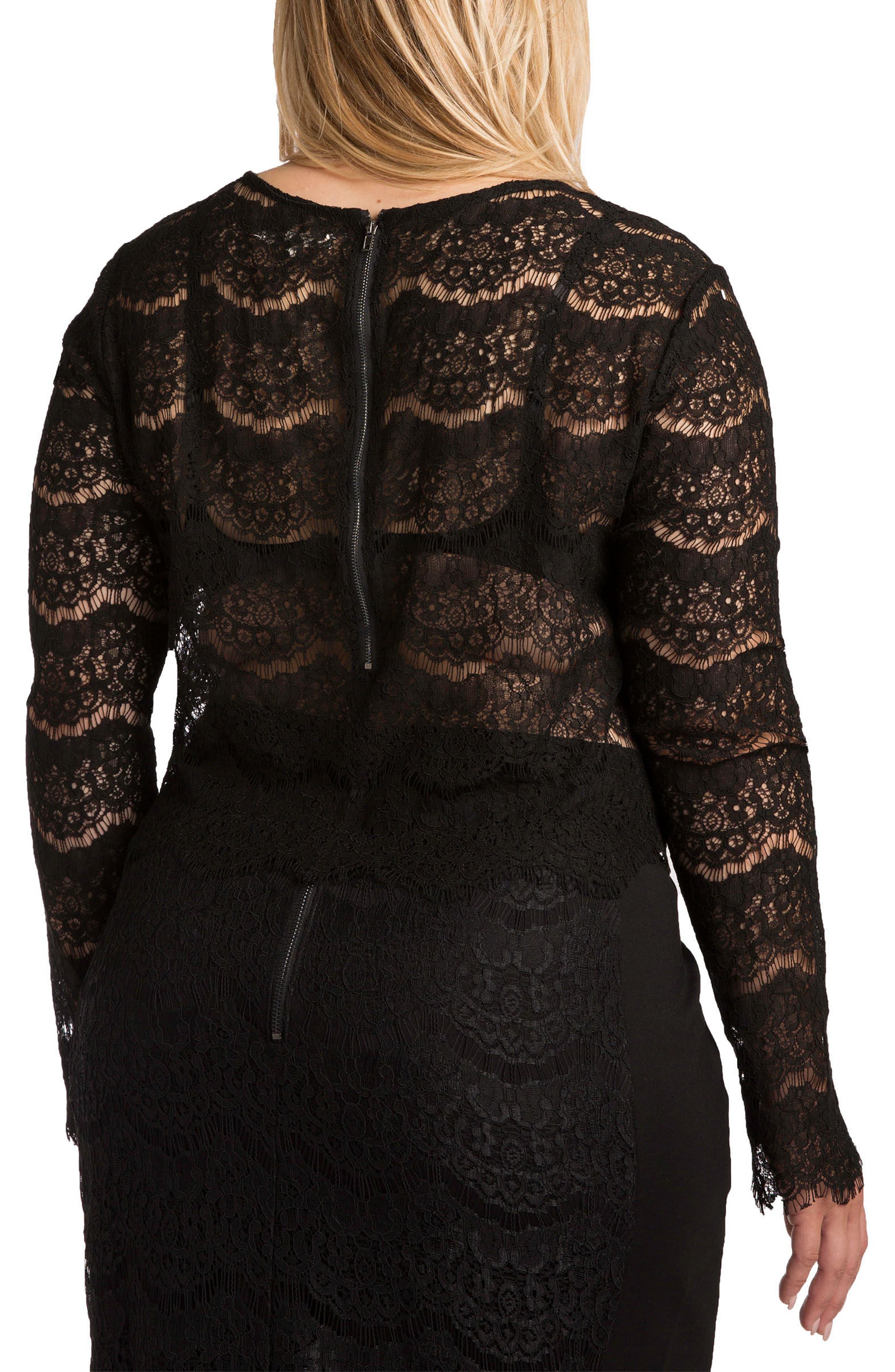 STANDARDS & PRACTICES, Sydney Lace Skimmer Top, Alternate thumbnail 2, color, BLACK
