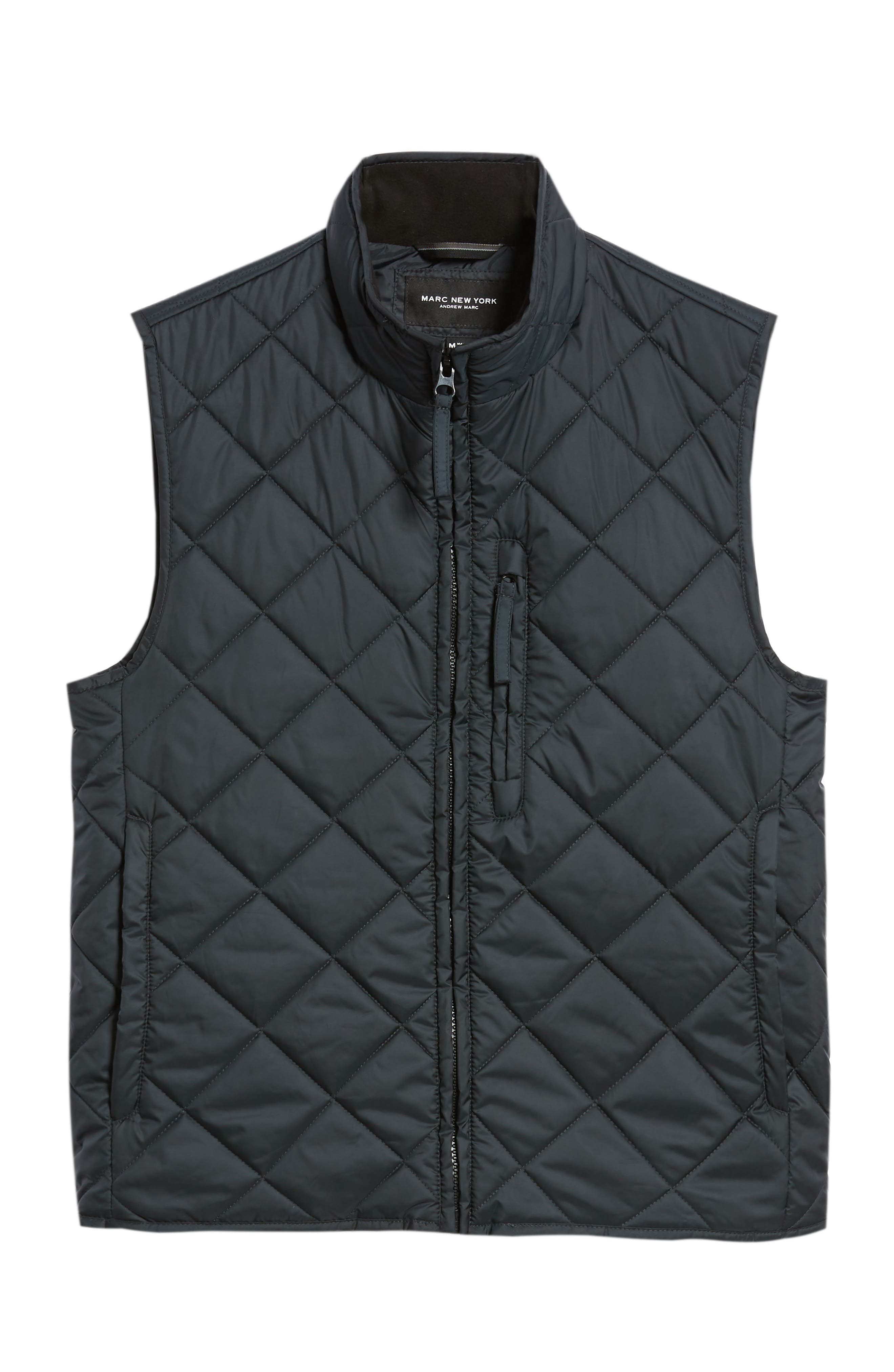 MARC NEW YORK, Chester Packable Quilted Vest, Alternate thumbnail 6, color, BLACK