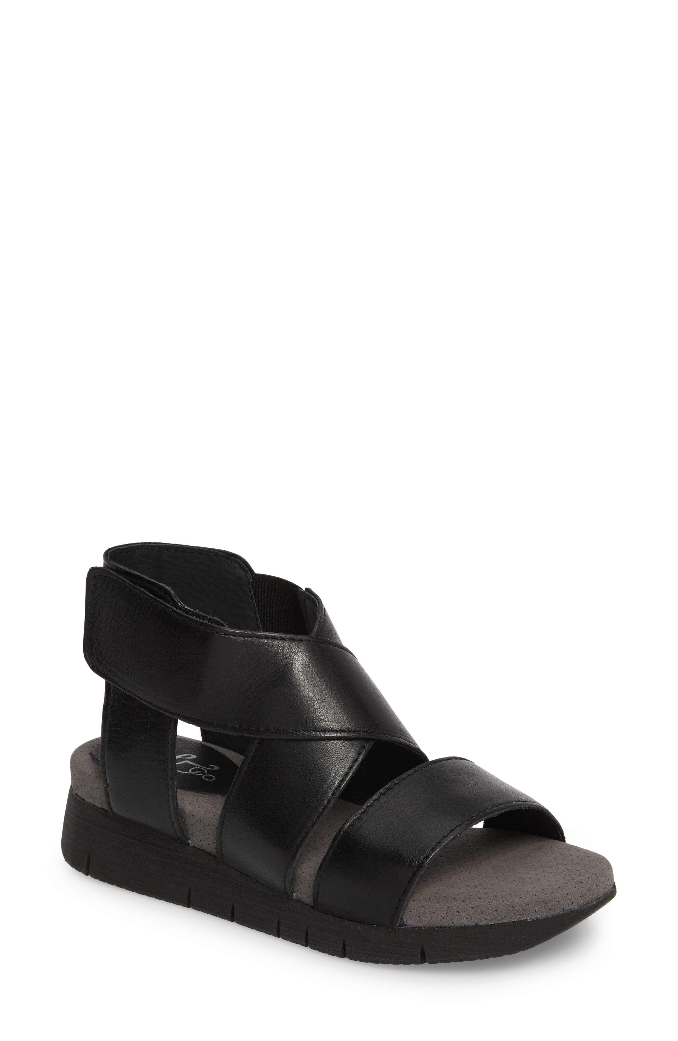 BOS. & CO., Piper Wedge Sandal, Main thumbnail 1, color, BLACK SAUVAGE LEATHER