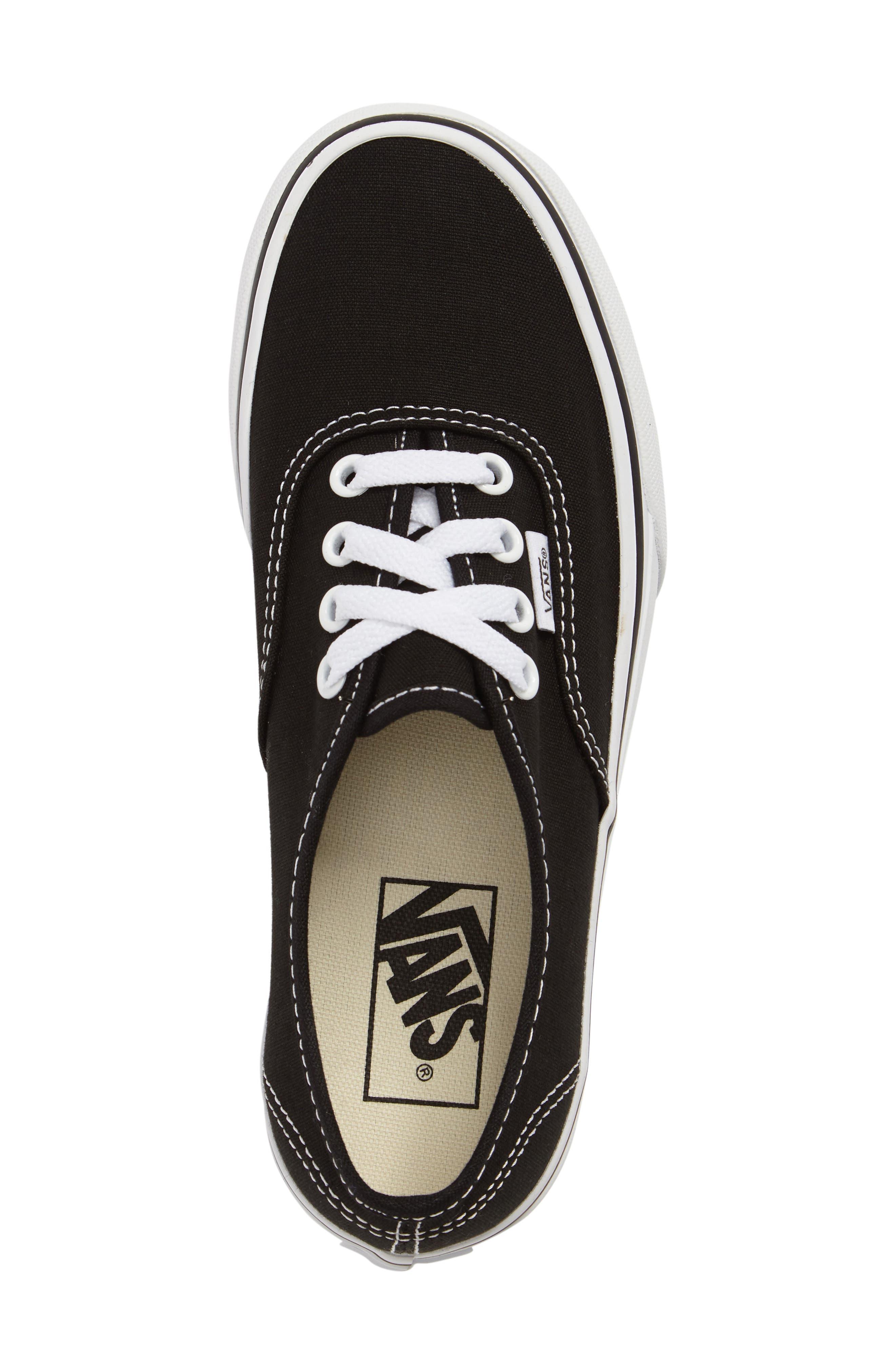 VANS, 'Authentic' Platform Sneaker, Alternate thumbnail 5, color, BLACK/ WHITE