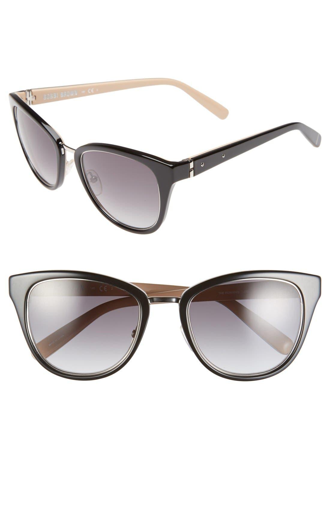 BOBBI BROWN, 'The Rowan' 53mm Cat Eye Sunglasses, Main thumbnail 1, color, 001
