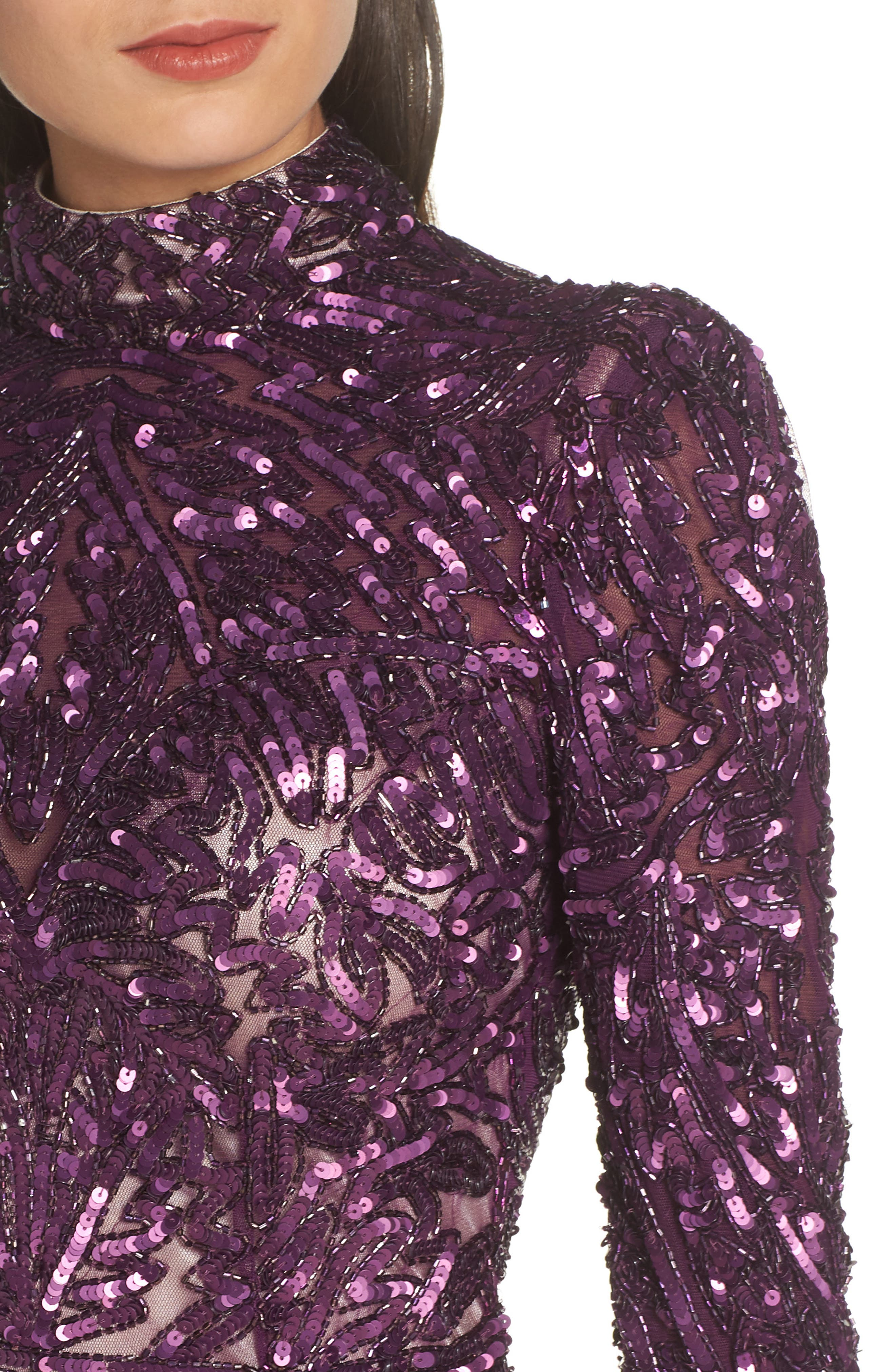 MAC DUGGAL, High Neck Sequin Gown with Train, Alternate thumbnail 5, color, AUBERGINE