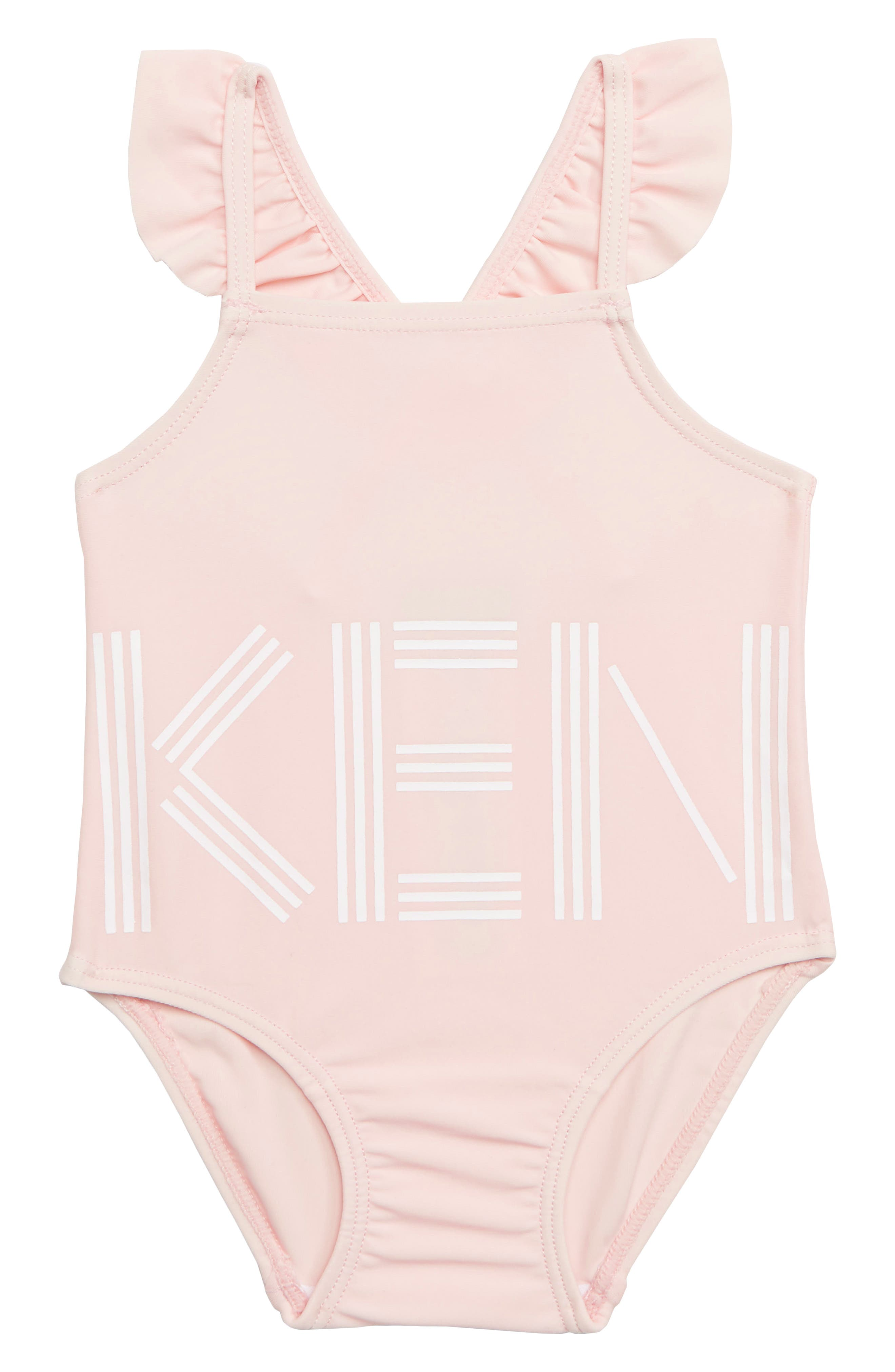 KENZO, Logo One-Piece Swimsuit, Main thumbnail 1, color, LIGHT PINK