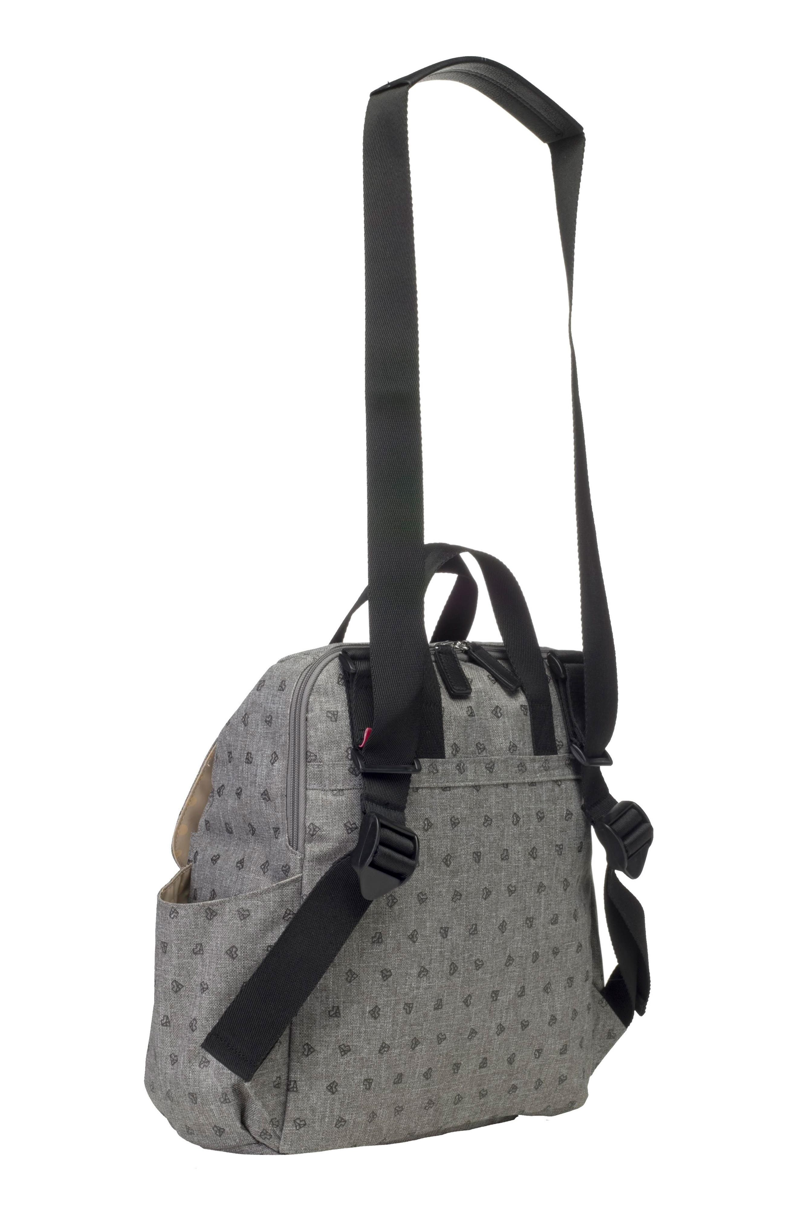 BABYMEL, Robyn Convertible Diaper Backpack, Alternate thumbnail 2, color, GREY ORIGAMI HEART