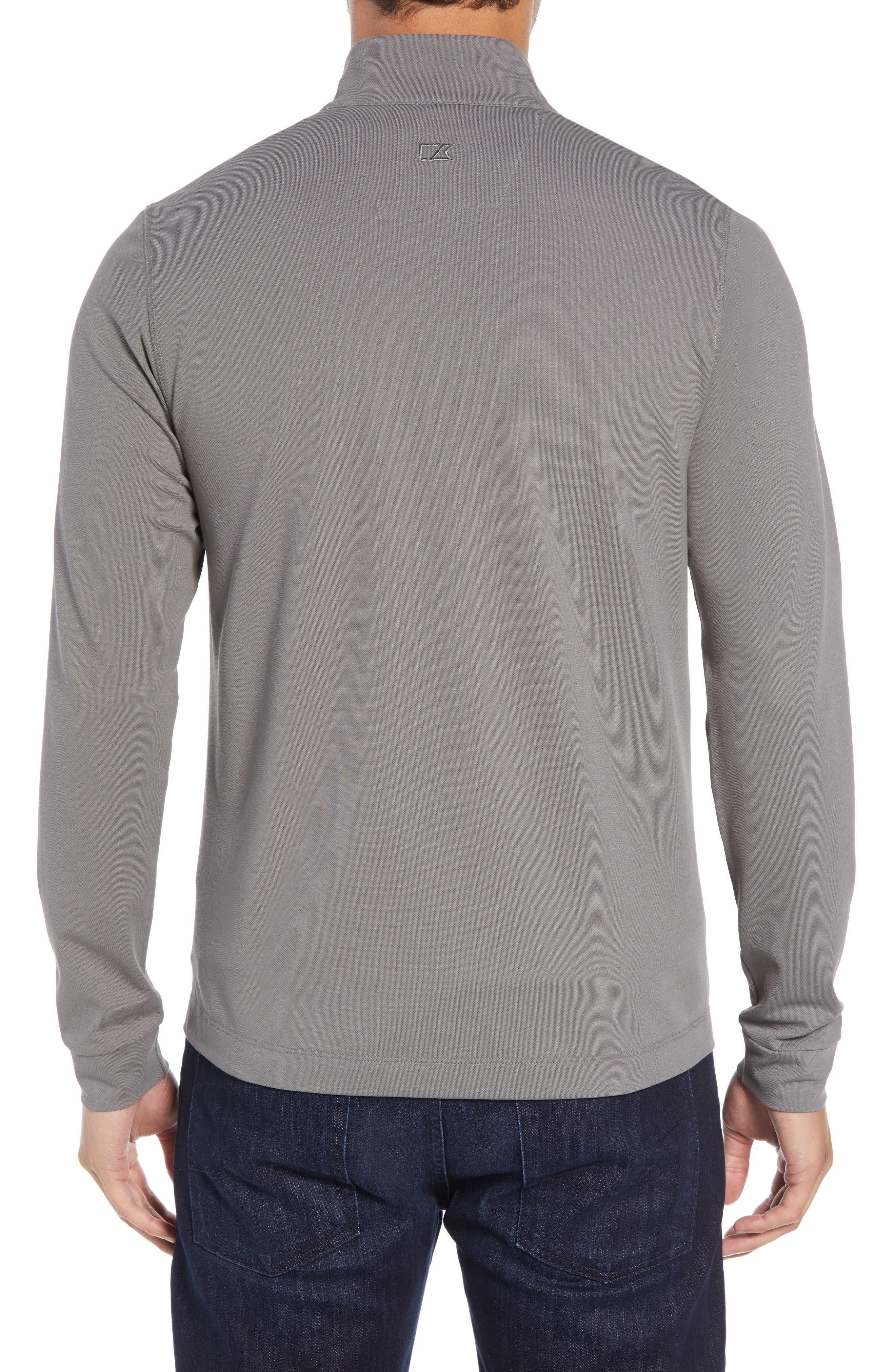 CUTTER & BUCK, Advantage Regular Fit DryTec Mock Neck Pullover, Alternate thumbnail 2, color, ELEMENTAL GREY