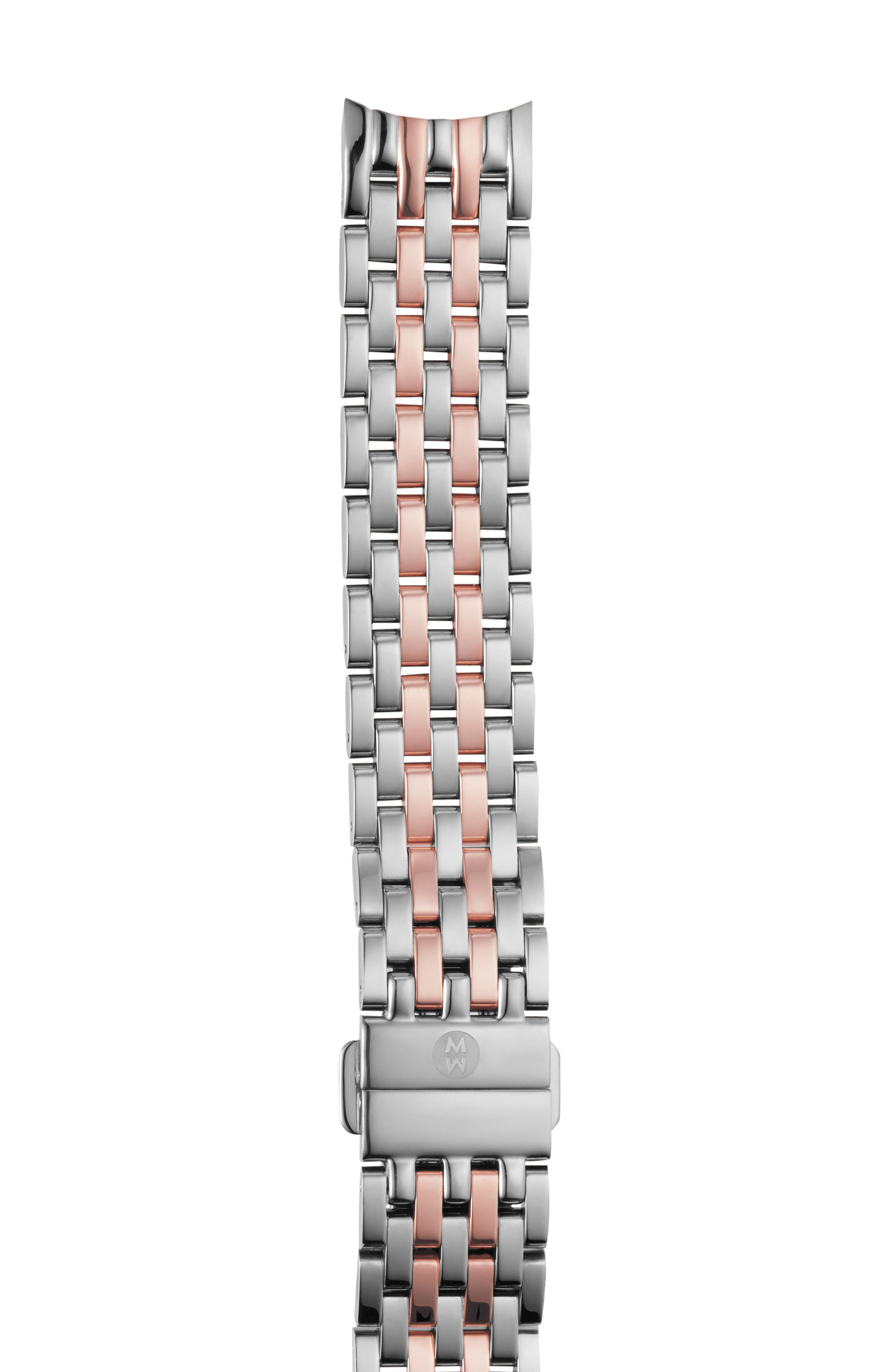 MICHELE Sidney 18mm Two-Tone Watch Bracelet, Main, color, SILVER/ WHITE/ ROSE GOLD