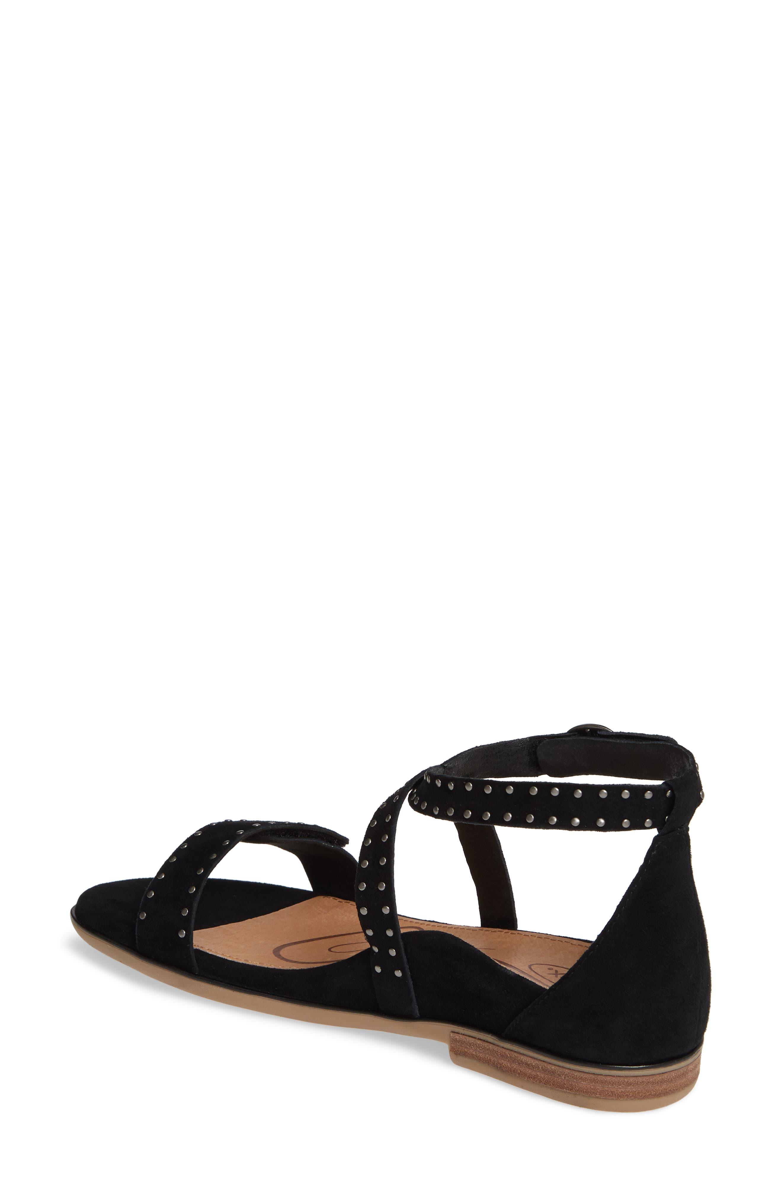 AETREX, Hailey Studded Sandal, Alternate thumbnail 2, color, BLACK SUEDE