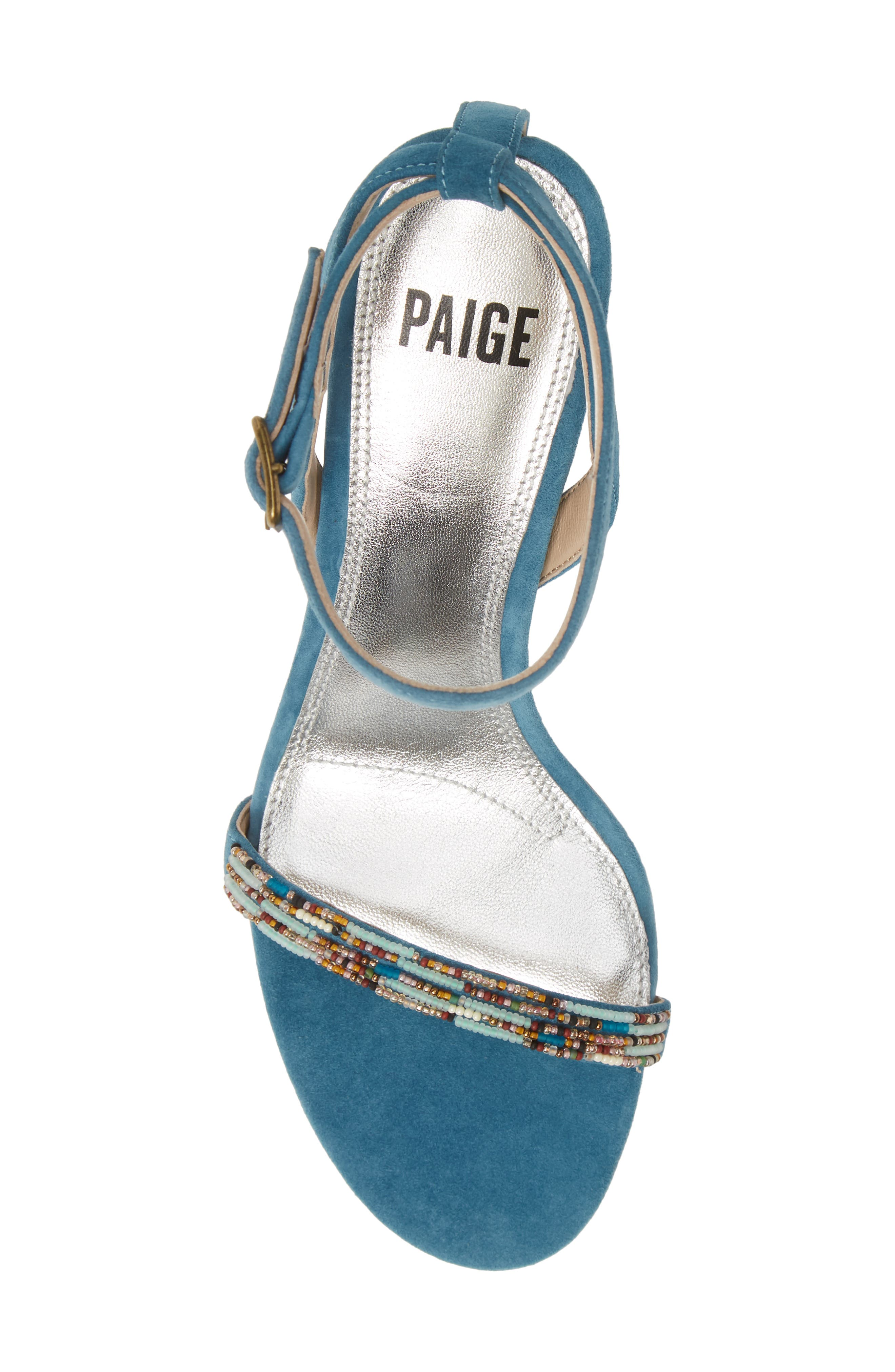 PAIGE, Gabriella Beaded Sandal, Alternate thumbnail 5, color, BLUE