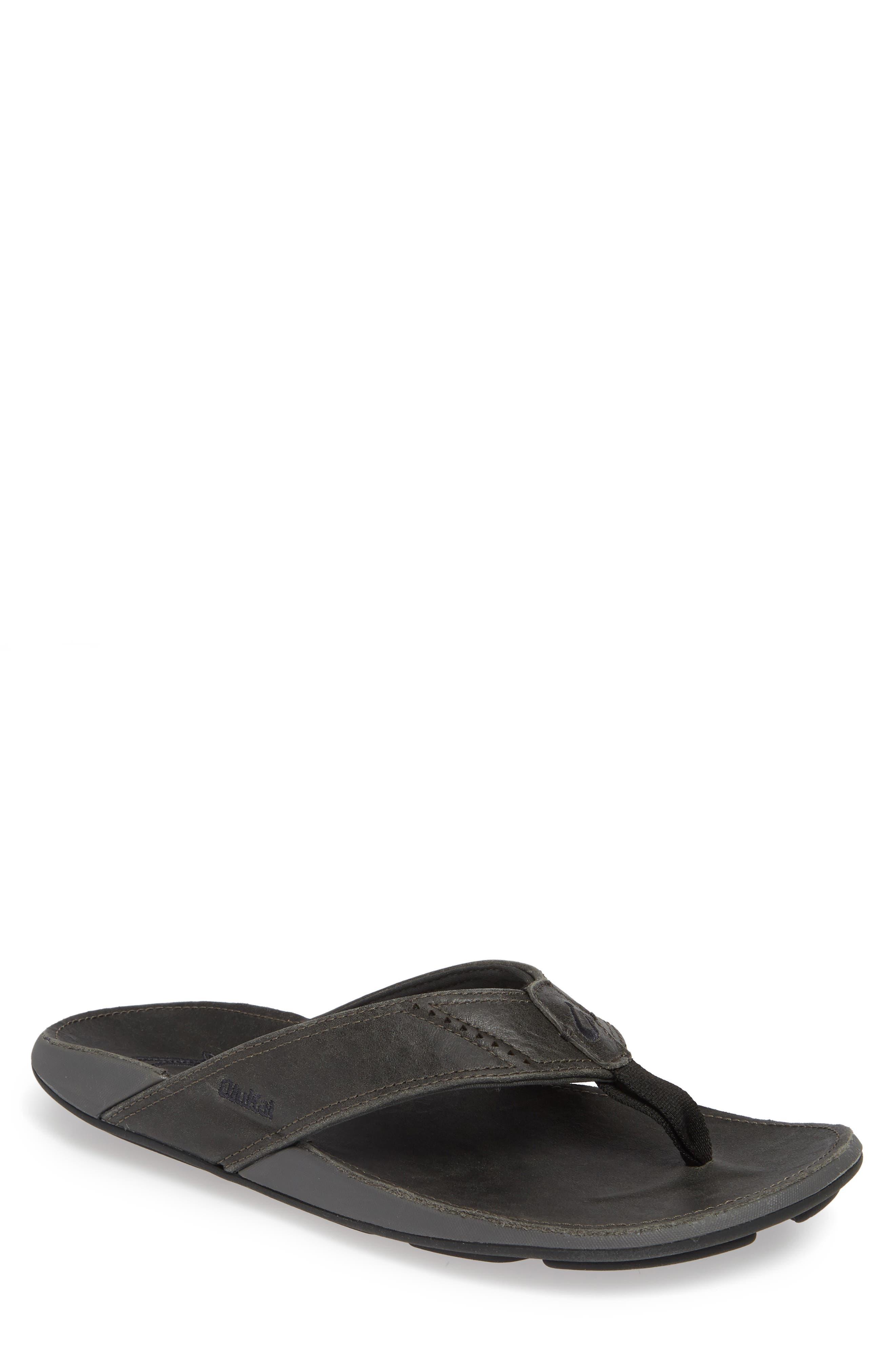 OLUKAI 'Nui' Leather Flip Flop, Main, color, LAVA ROCK LEATHER