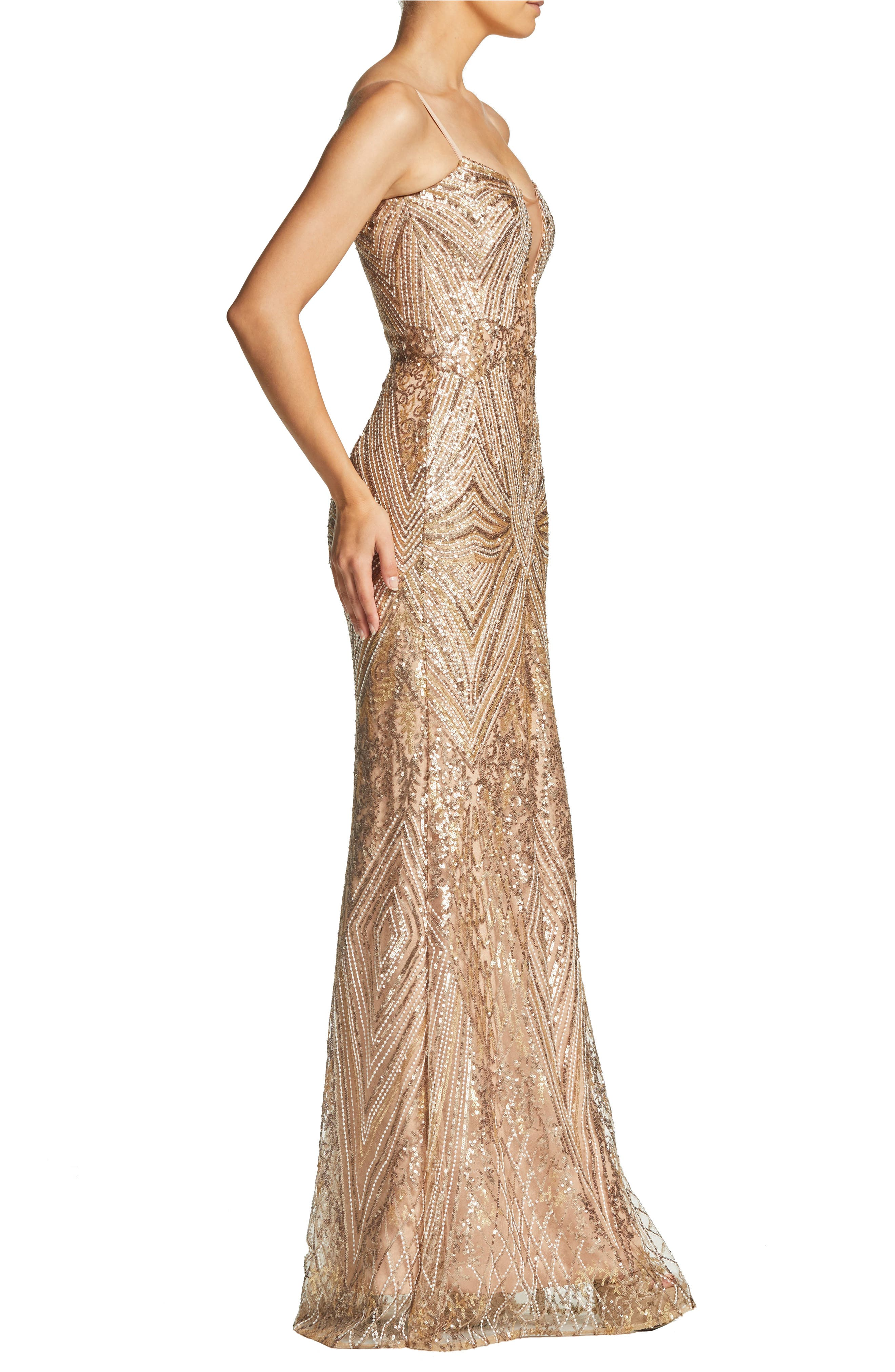 DRESS THE POPULATION, Mara Art Deco Sequin Trumpet Gown, Alternate thumbnail 4, color, GOLD/ BRASS