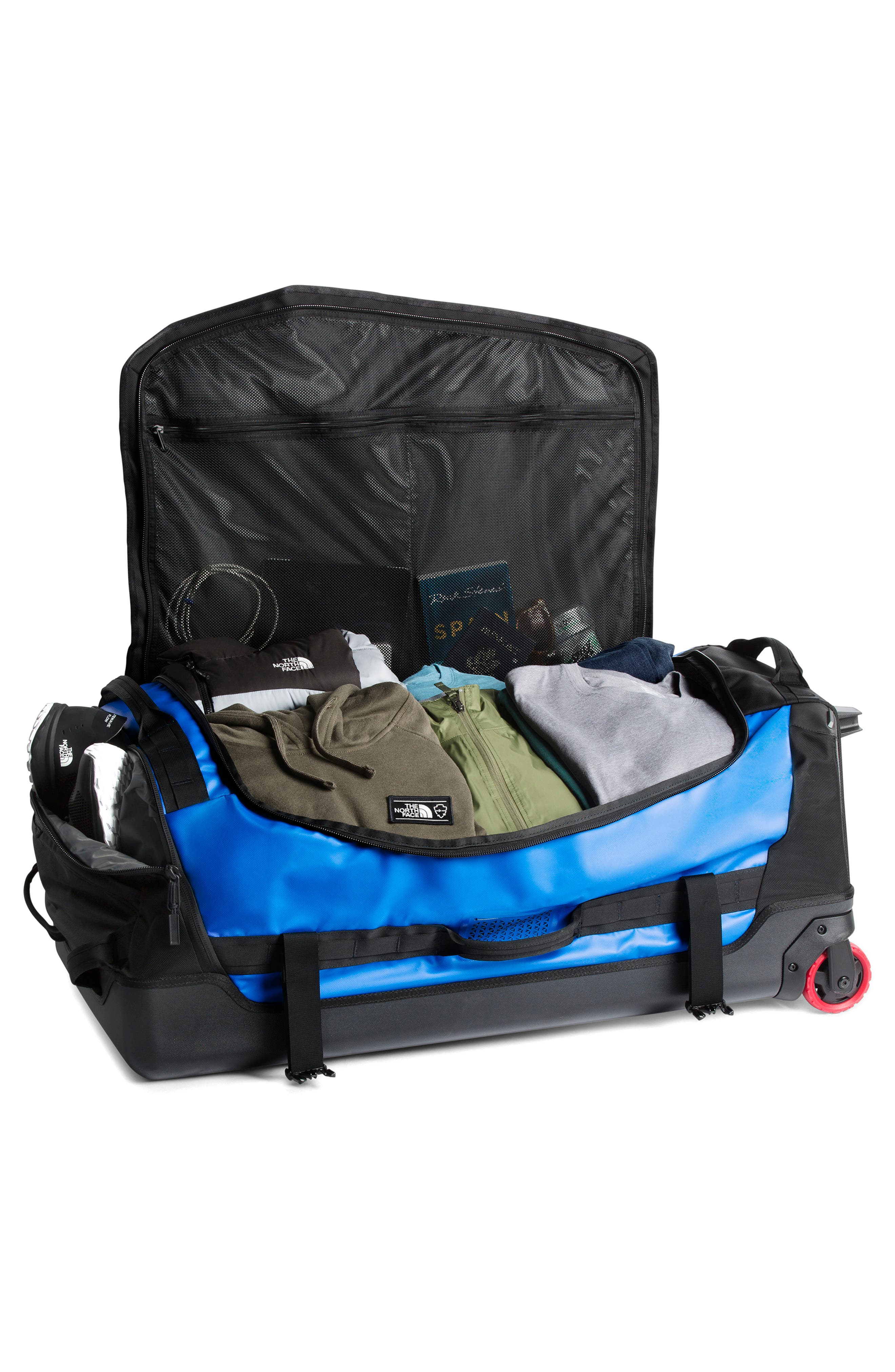 THE NORTH FACE, Rolling Thunder 36-Inch Wheeled Duffel Bag, Alternate thumbnail 3, color, BOMBER BLUE/ BLACK