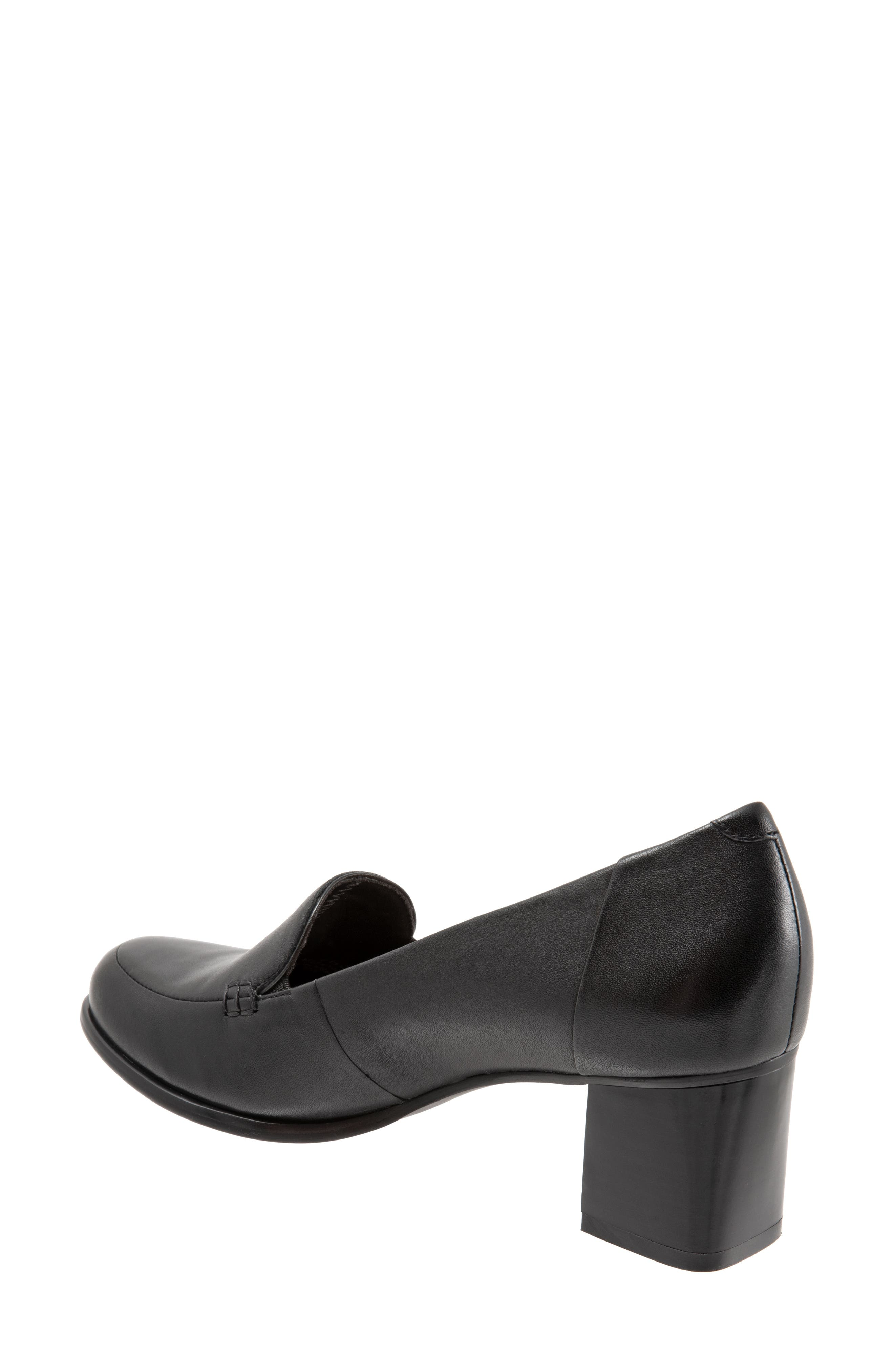 TROTTERS, Quincy Loafer Pump, Alternate thumbnail 2, color, BLACK LEATHER