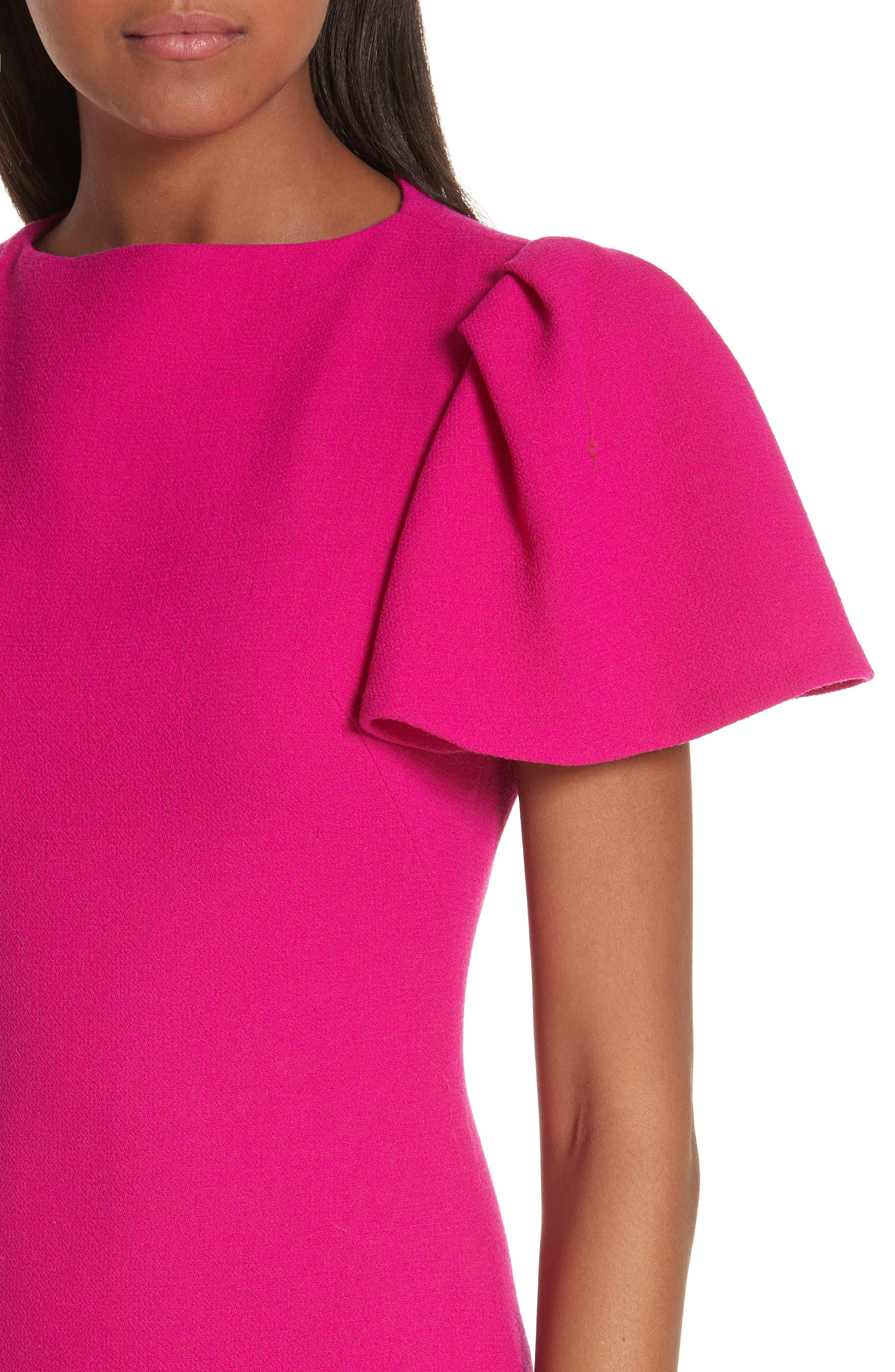 BRANDON MAXWELL, Flutter Sleeve Sheath Dress, Alternate thumbnail 5, color, MAGENTA