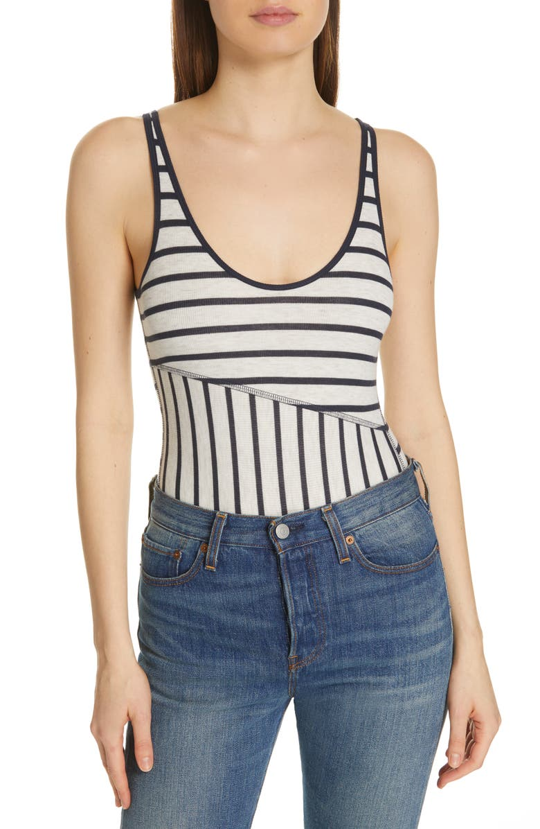 Atm Anthony Thomas Melillo Suits STRIPE RIBBED BODYSUIT