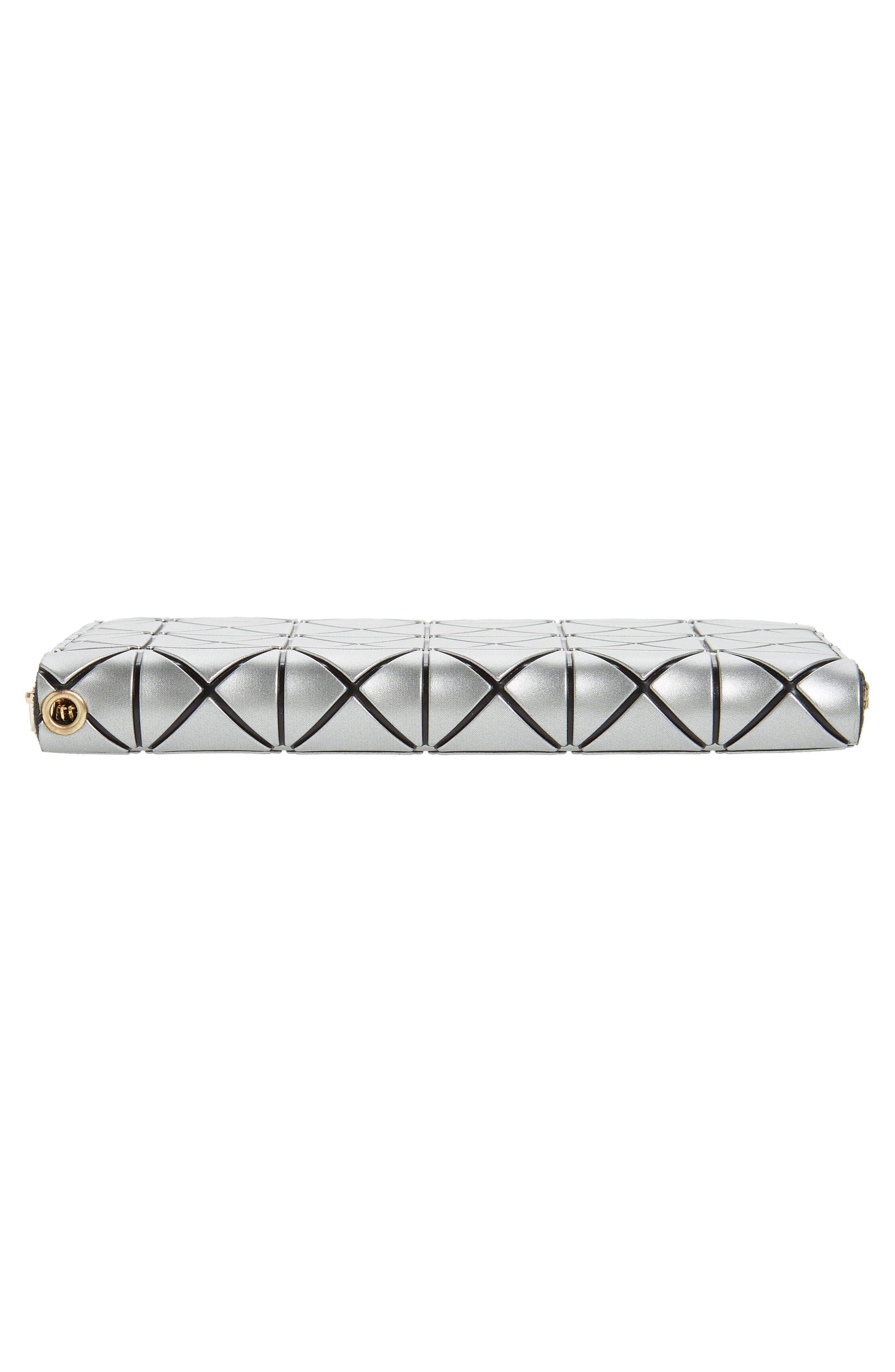 YOKI BAGS, Diamond Embossed Faux Leather Zip Wallet, Alternate thumbnail 7, color, 040