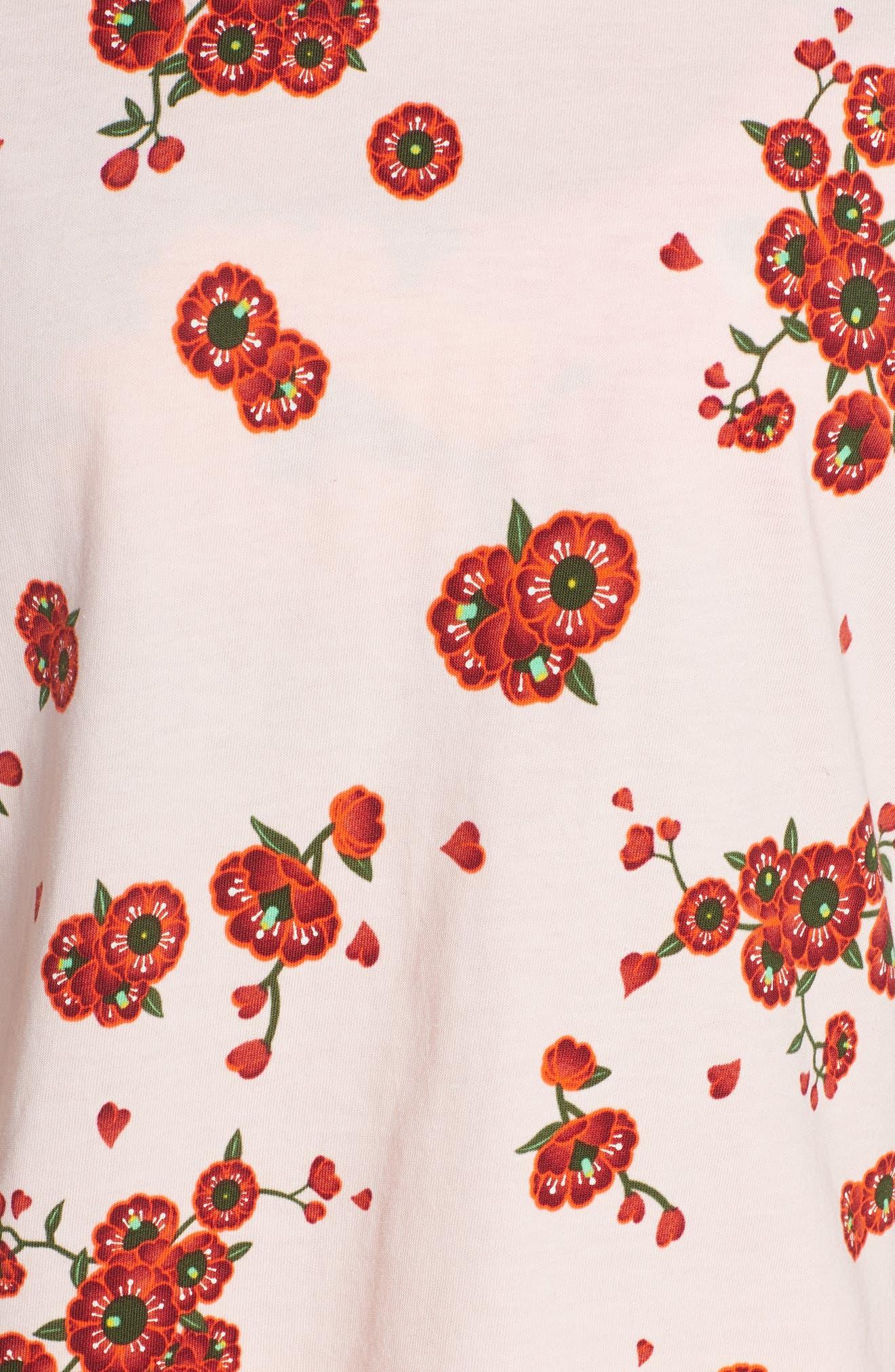 PUMA, x Sue Tsai Crop Floral Tee, Alternate thumbnail 6, color, CHERRY BLOSSOM AOP
