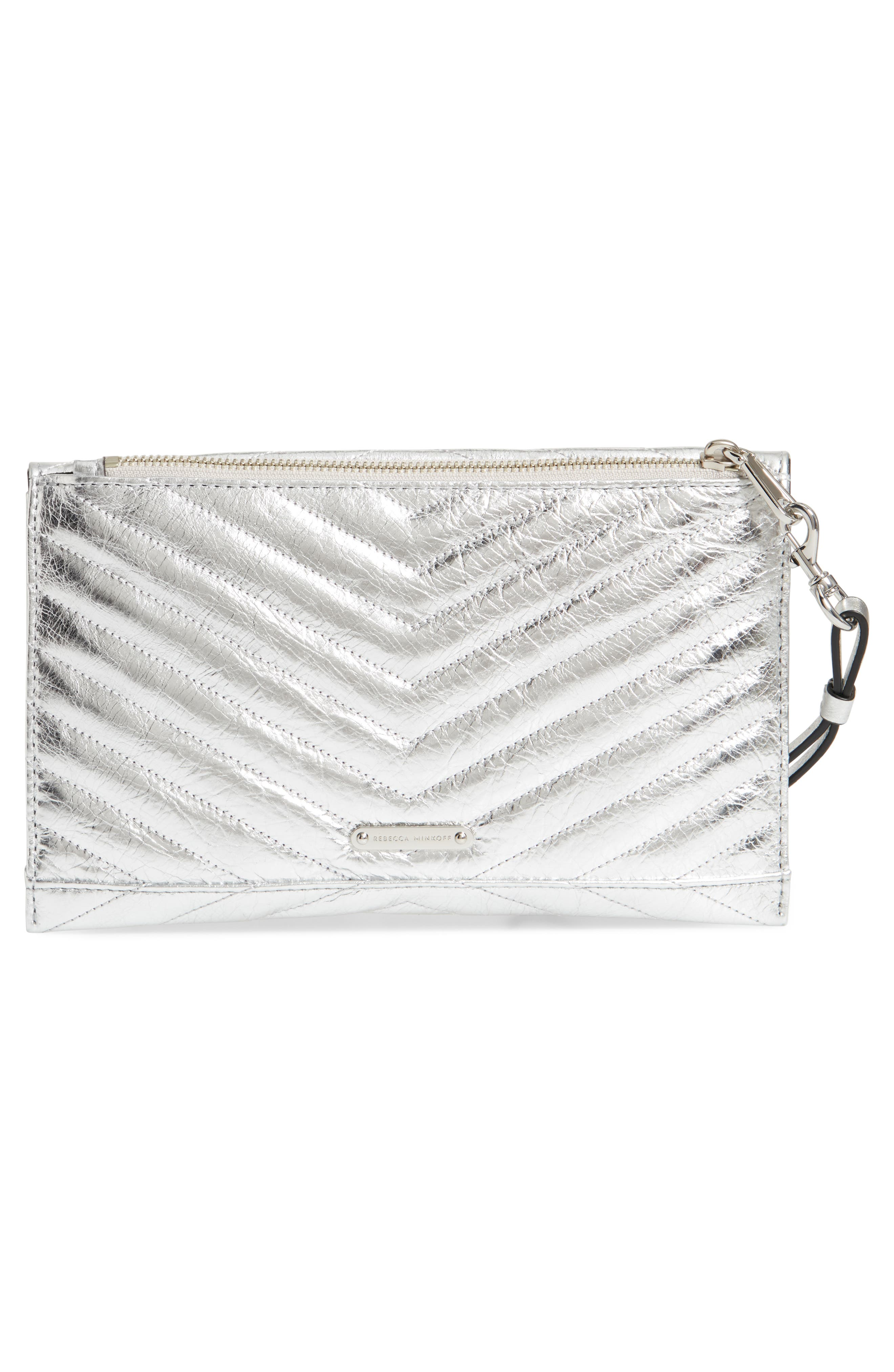 REBECCA MINKOFF, Leo Quilted Leather Clutch, Alternate thumbnail 4, color, SILVER