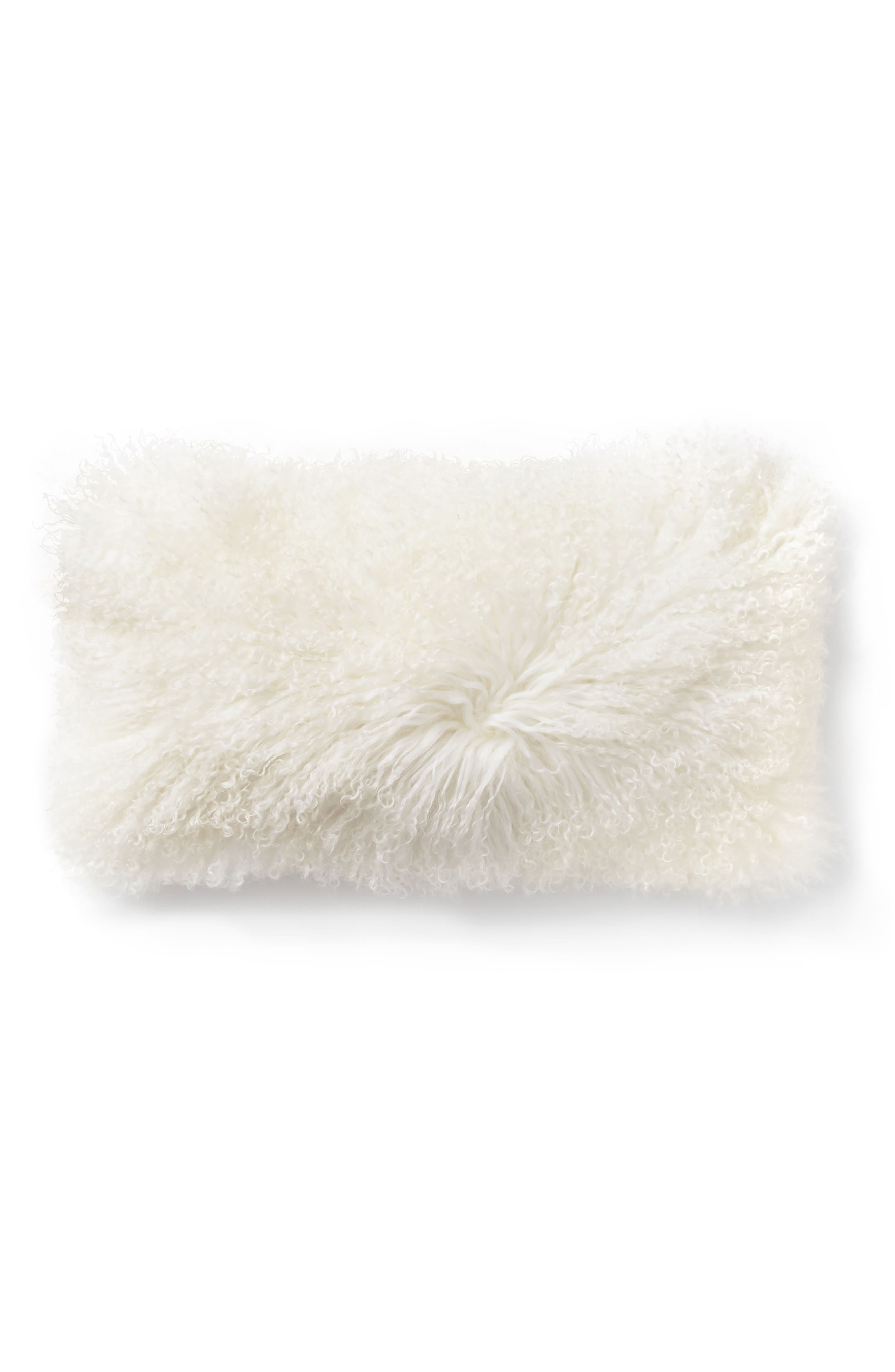 DONNA KARAN NEW YORK, Donna Karan Flokati Genuine Shearling Accent Pillow, Main thumbnail 1, color, IVORY