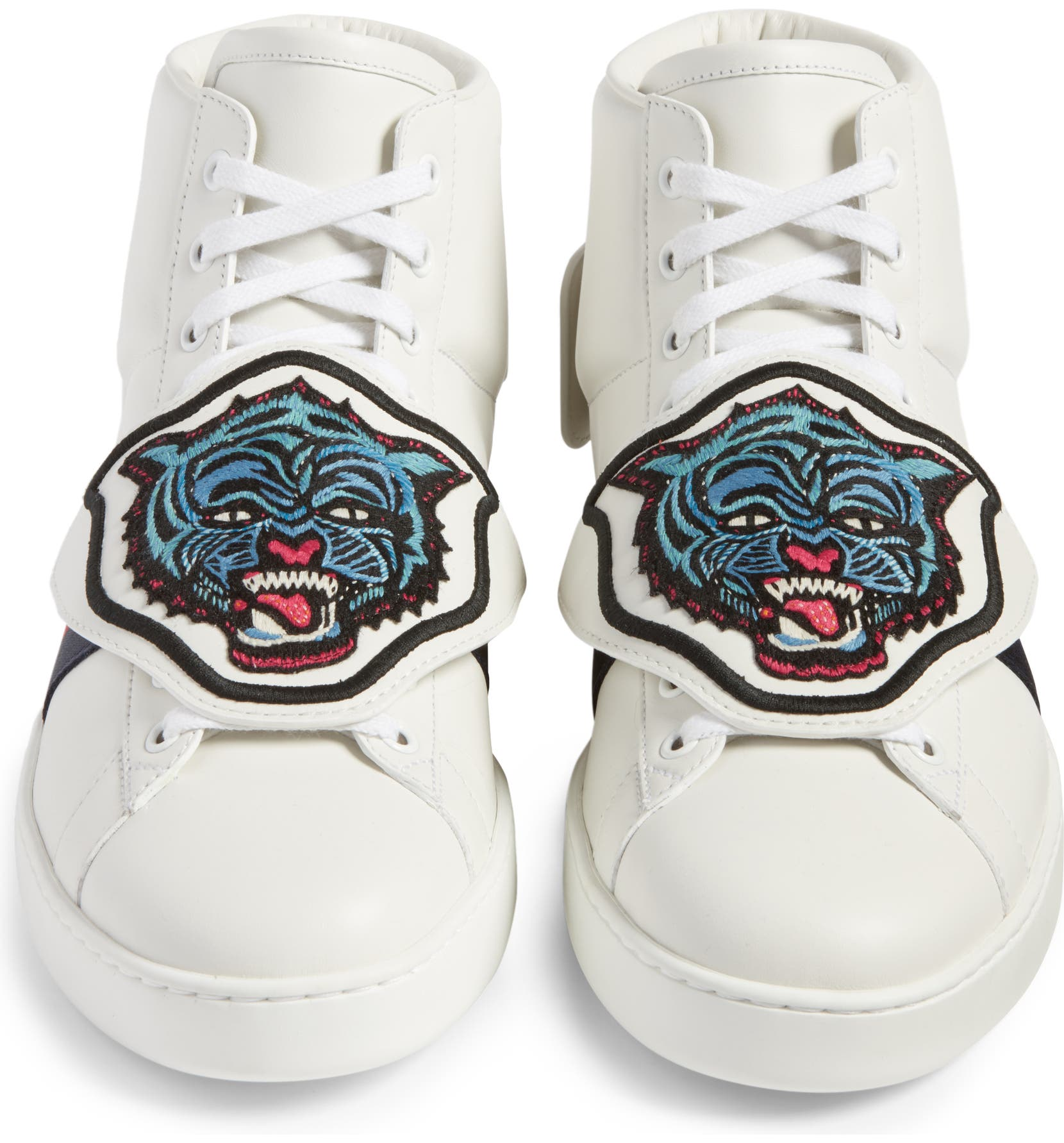 7cee0354c2e Gucci New Ace Jaguar Embroidered Patch High Top Sneaker (Men ...