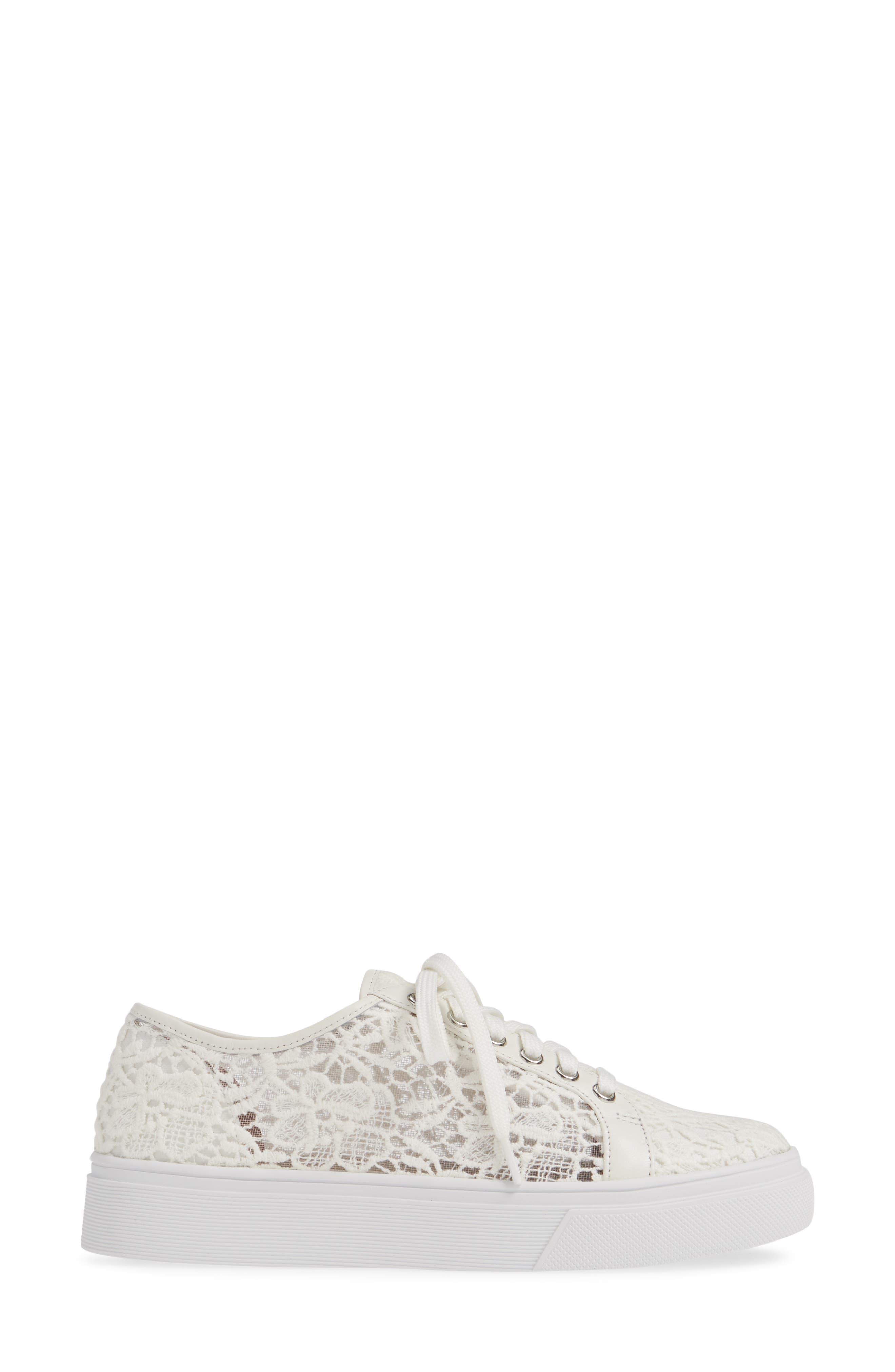CASLON<SUP>®</SUP>, Payton Lace Sneaker, Alternate thumbnail 3, color, WHITE CROCHET