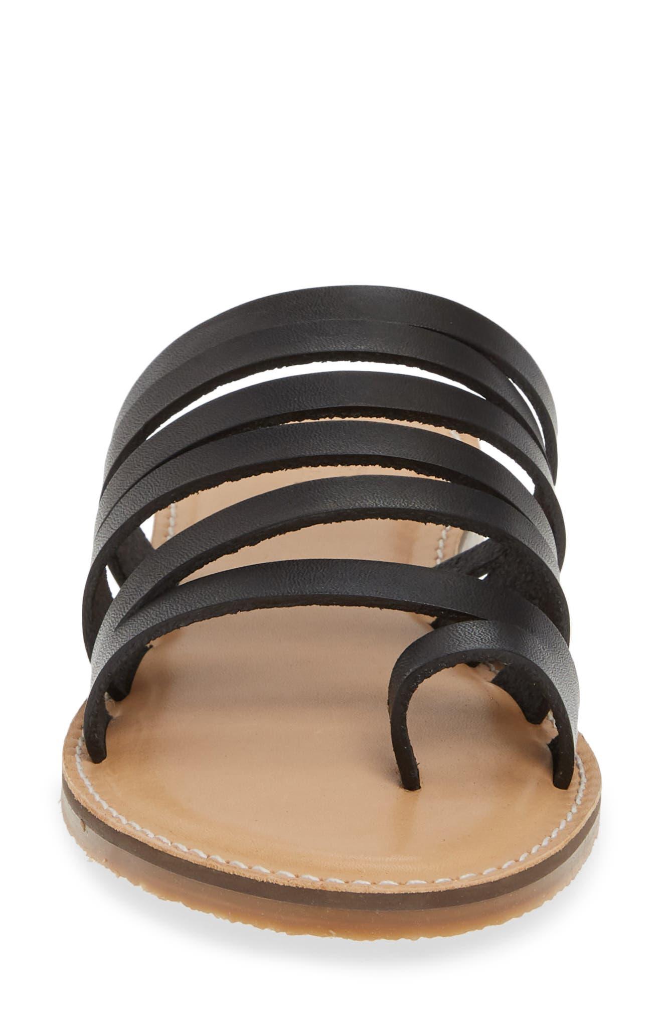CASLON<SUP>®</SUP>, Owen Slide Sandal, Alternate thumbnail 5, color, BLACK LEATHER