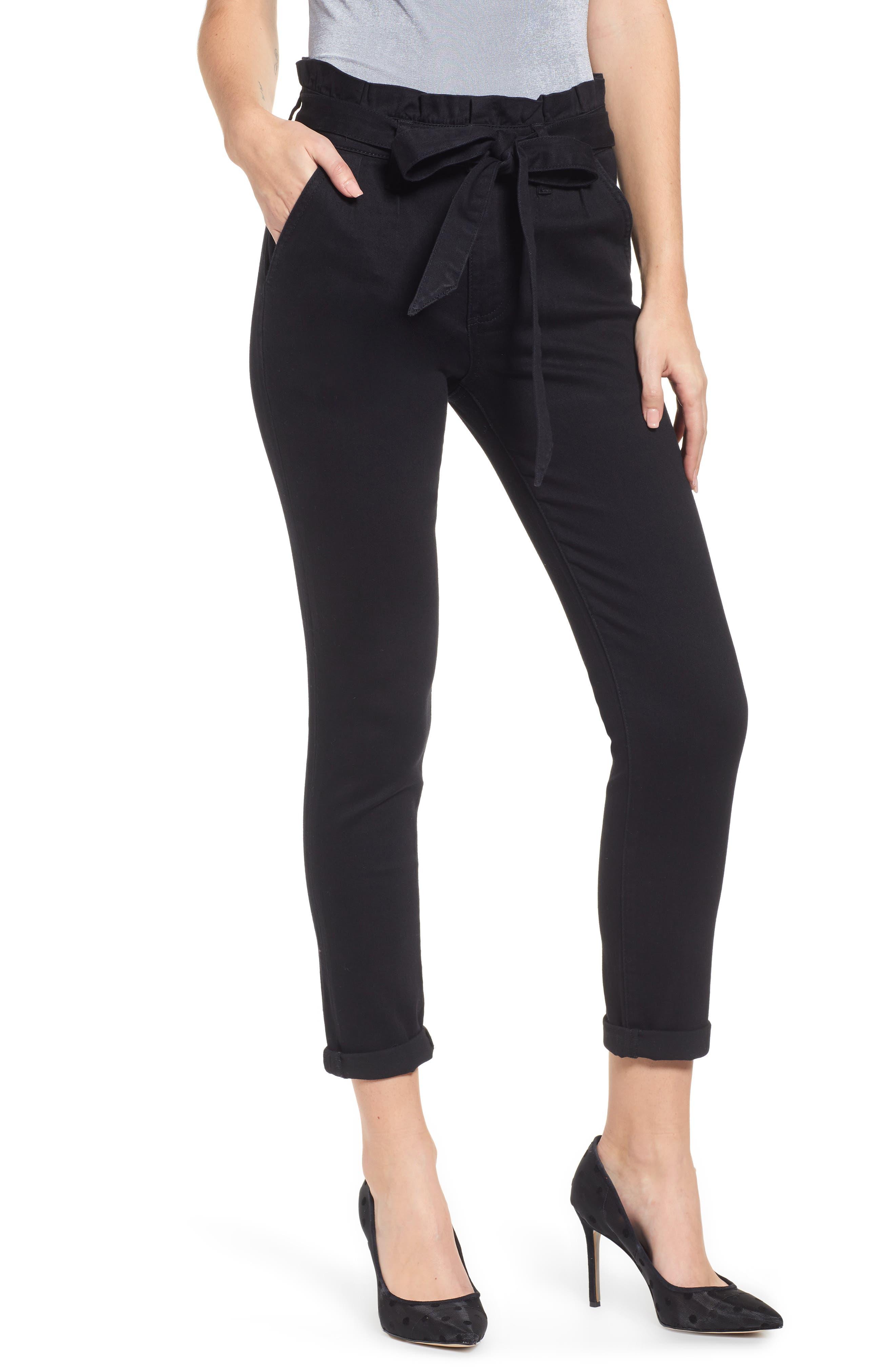 PROSPERITY DENIM, Paperbag Waist Skinny Jeans, Main thumbnail 1, color, BLACK