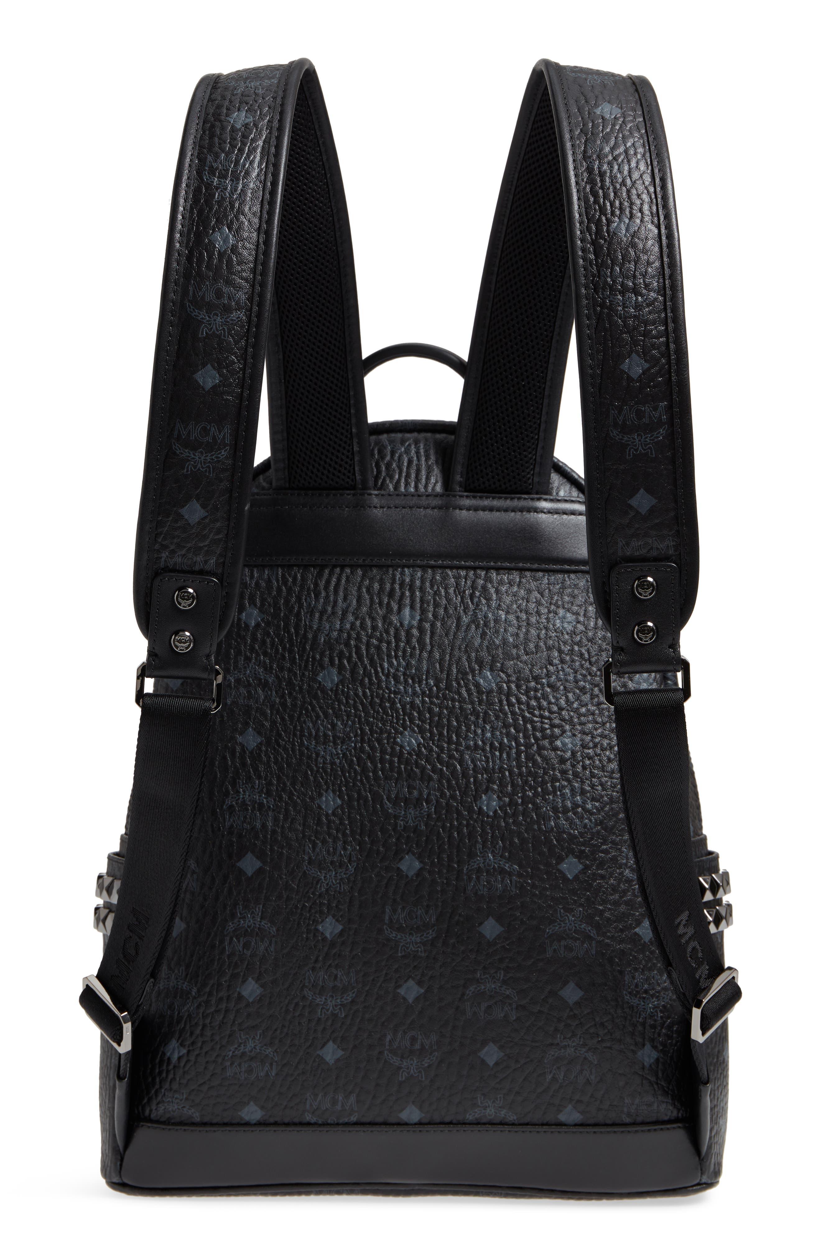 MCM, Medium Stark Side Stud Coated Canvas Backpack, Alternate thumbnail 4, color, BLACK