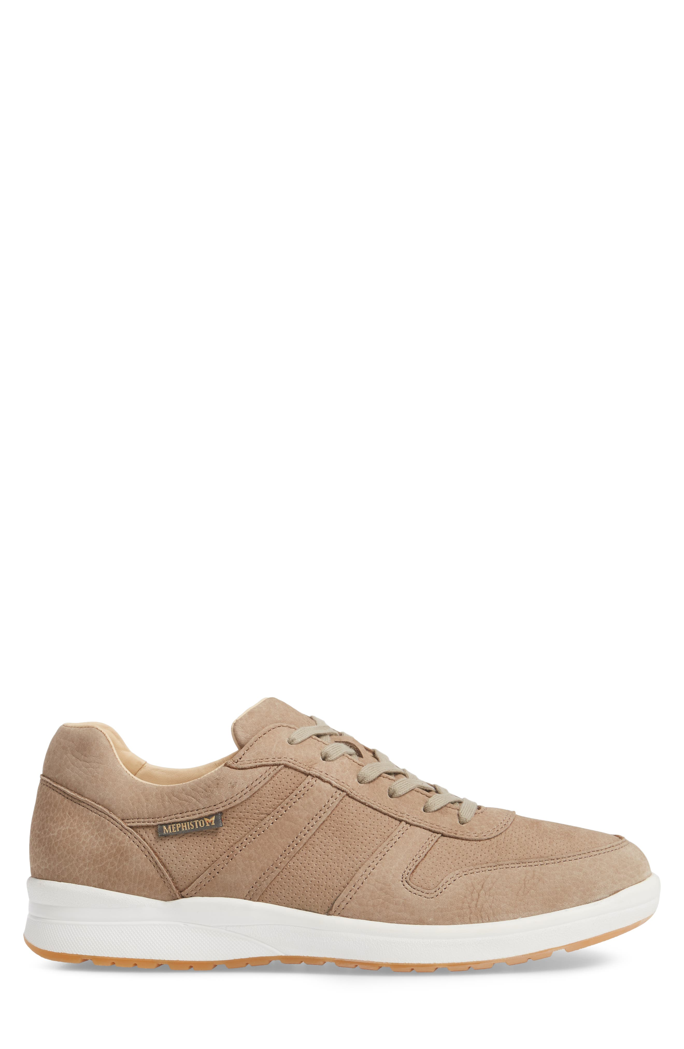 MEPHISTO, Vito Perforated Sneaker, Alternate thumbnail 3, color, SAND
