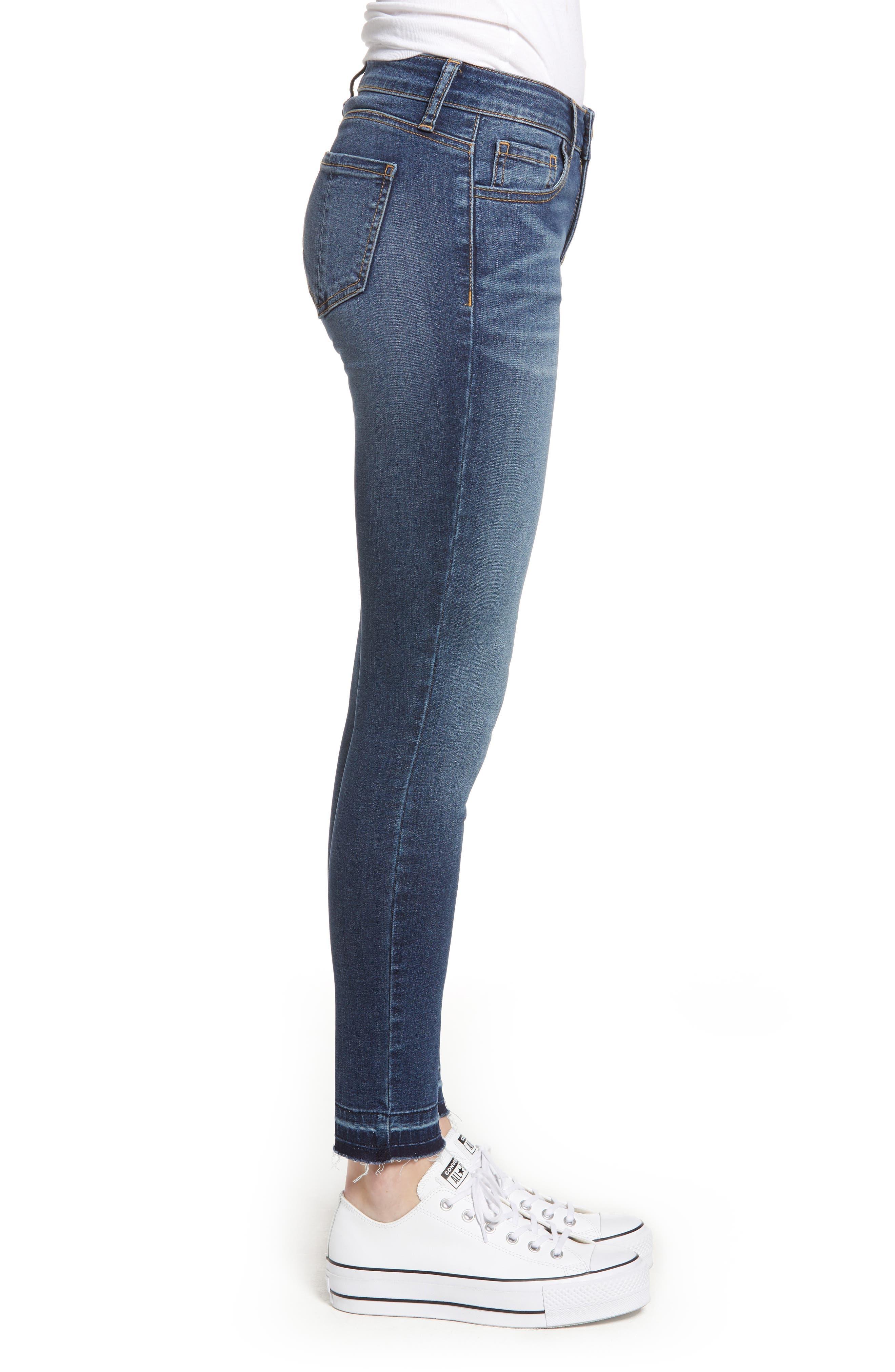 PROSPERITY DENIM, Released Hem Skinny Jeans, Alternate thumbnail 4, color, CLAUDIA MED WASH
