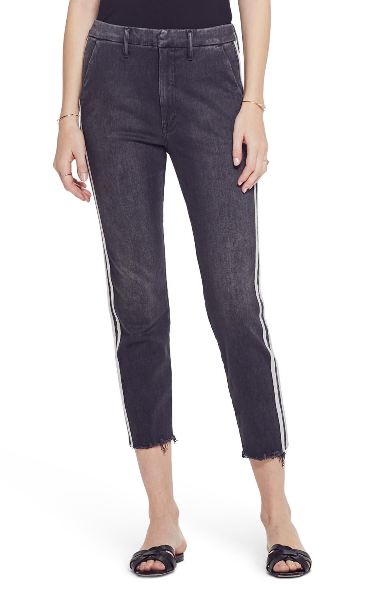 MOTHER, The Shaker Prep High Waist Crop Slim Jeans, Main thumbnail 1, color, DEAR MR. BLACK RACER