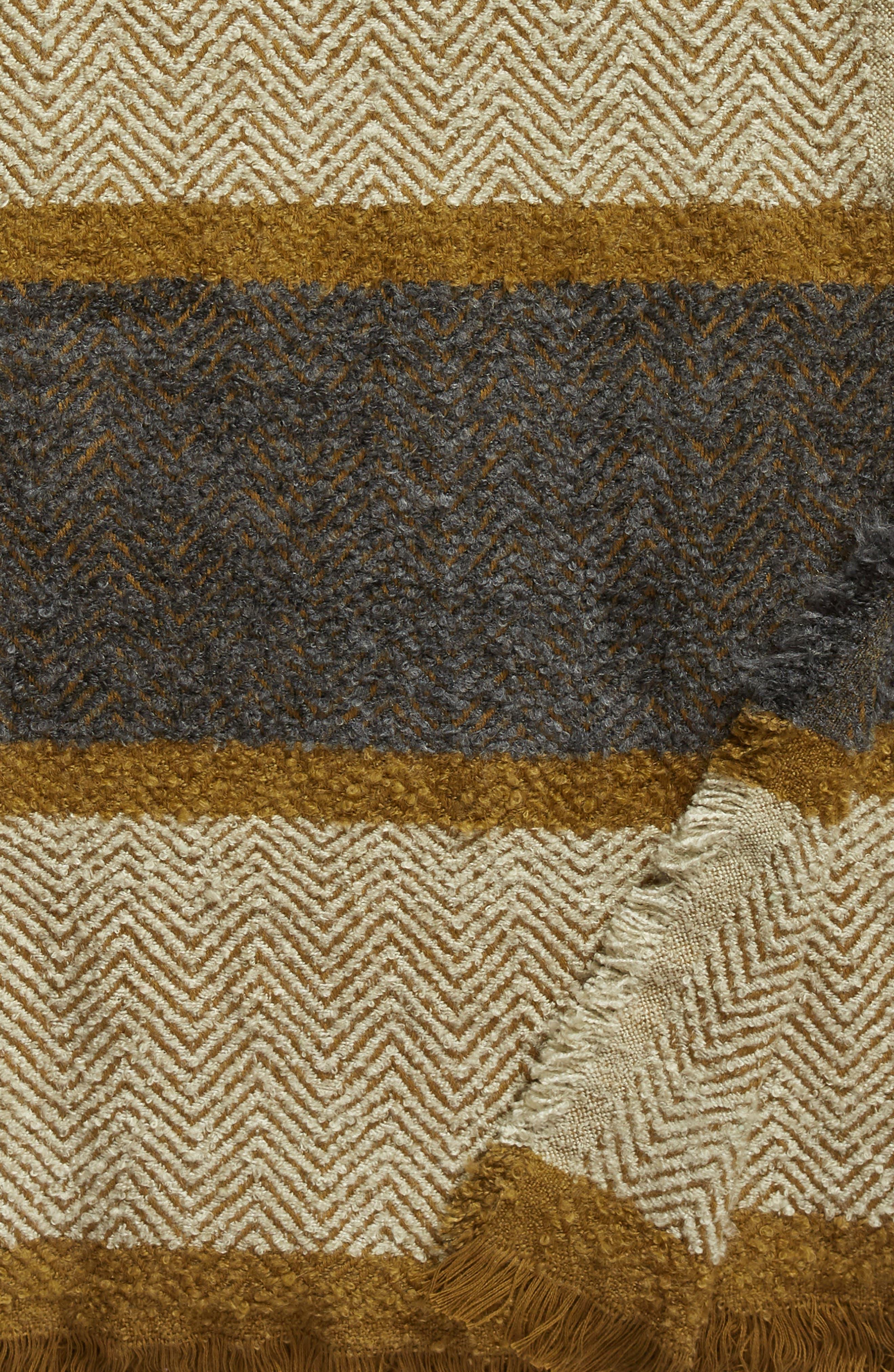 TREASURE & BOND, Herringbone Stripe Throw, Alternate thumbnail 2, color, GREY ONYX