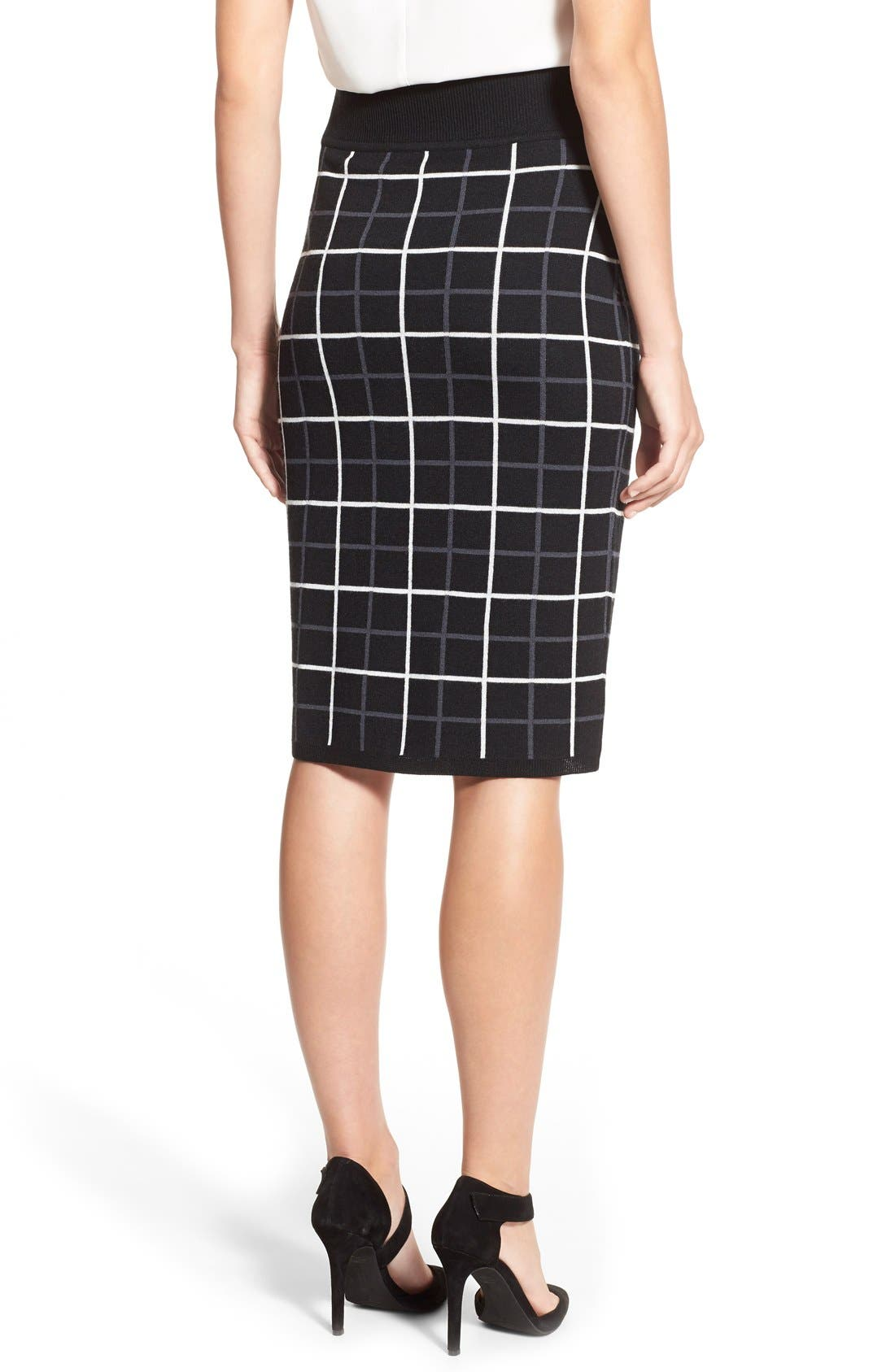HALOGEN<SUP>®</SUP>, Windowpane Check Knit Pencil Skirt, Alternate thumbnail 6, color, 001