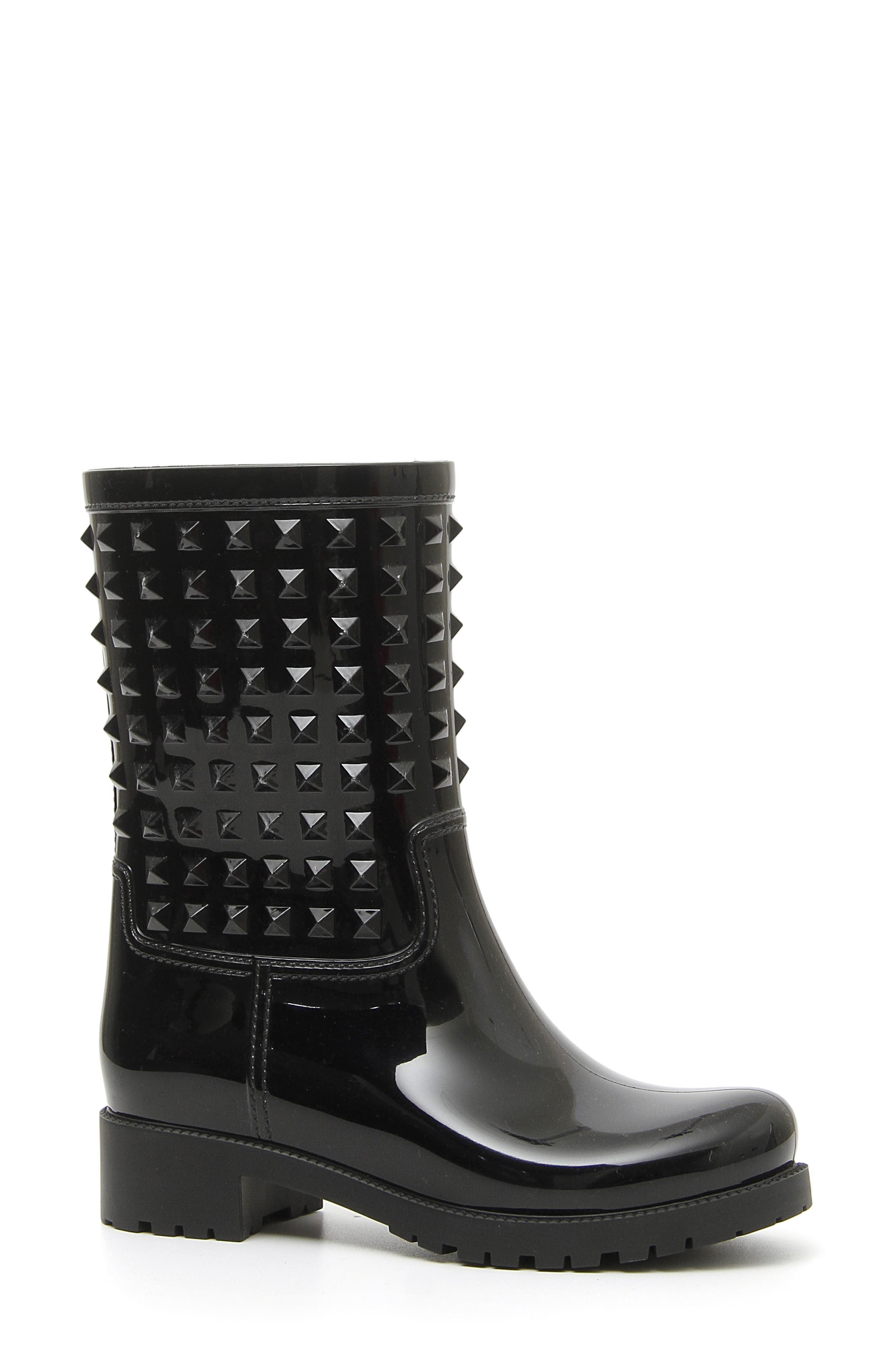 VALENTINO GARAVANI Rockstud Rain Boot, Main, color, BLACK