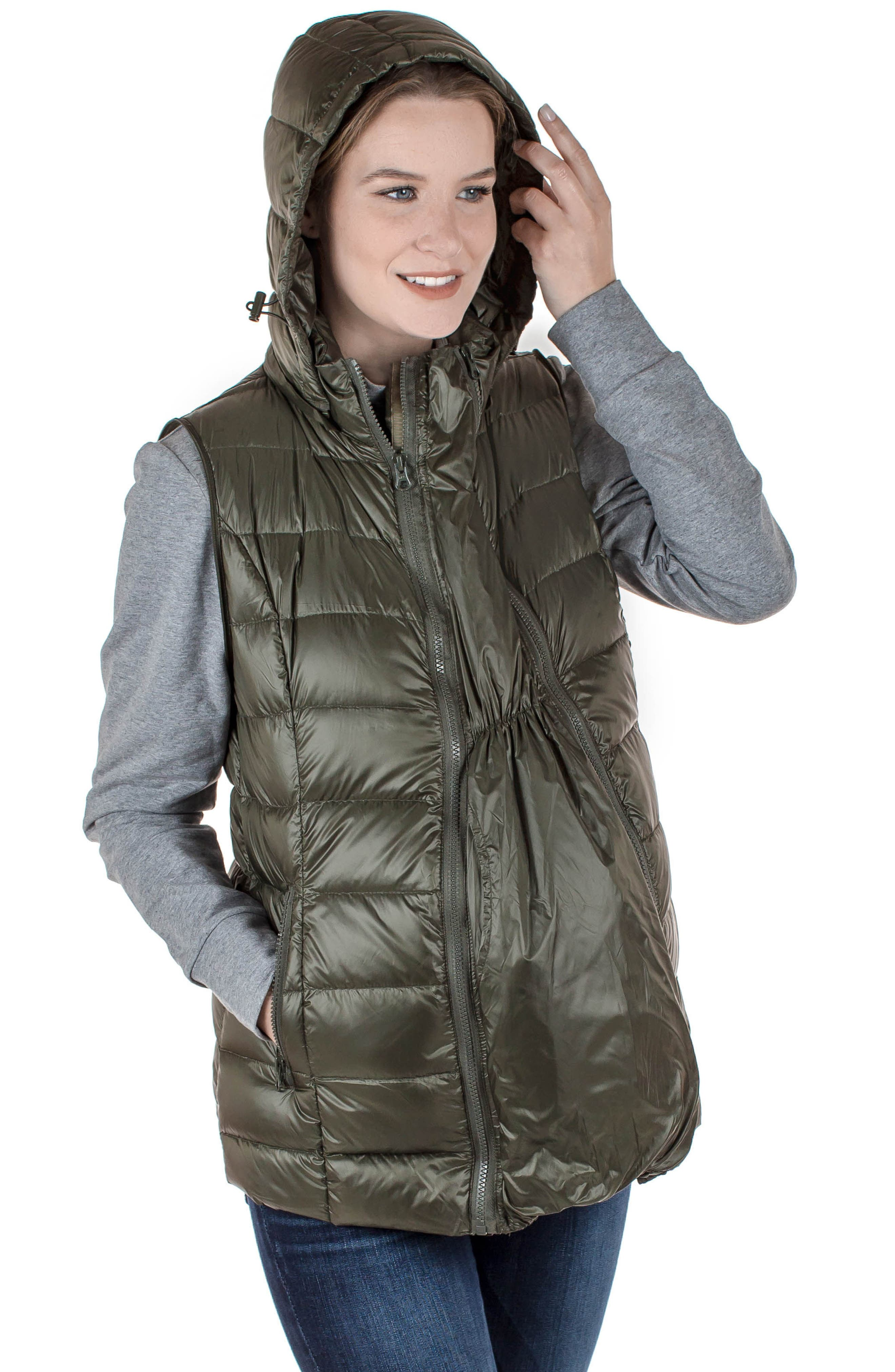 MODERN ETERNITY, Lightweight Puffer Convertible 3-in-1 Maternity Jacket, Alternate thumbnail 8, color, KHAKI GREEN
