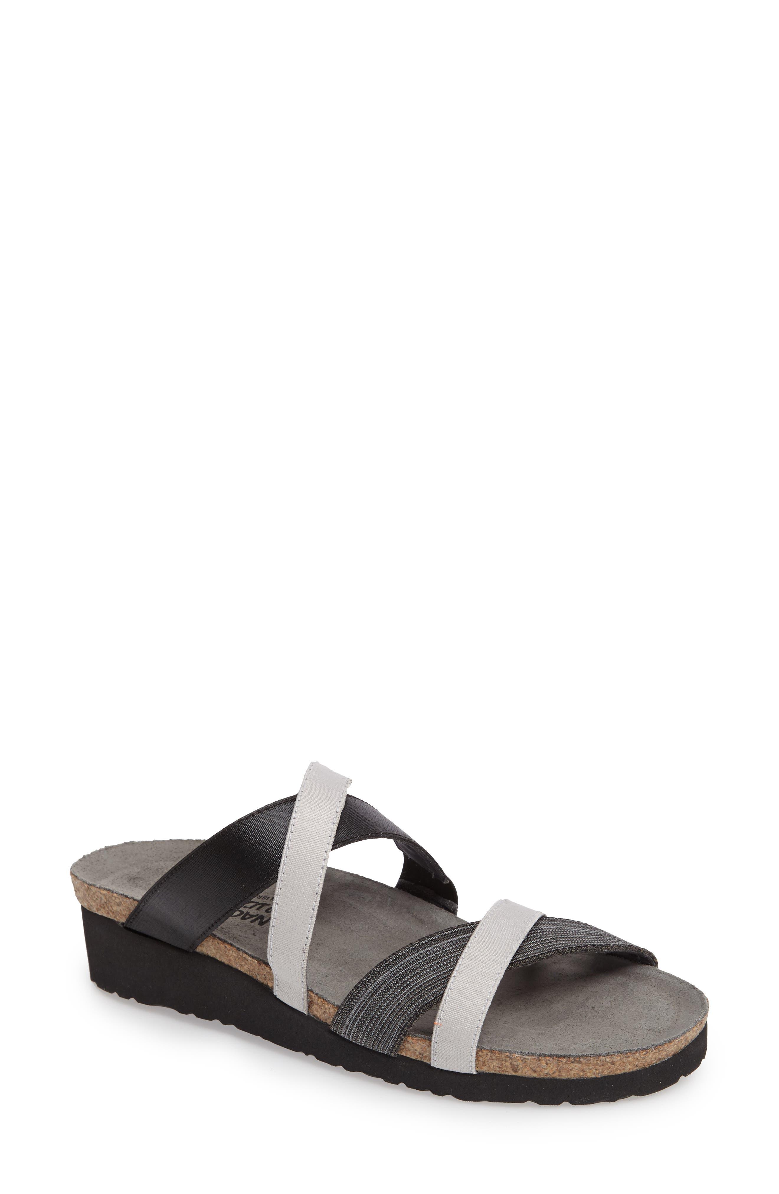 NAOT Roxana Strappy Slip-On Sandal, Main, color, BLACK/ GREY FABRIC