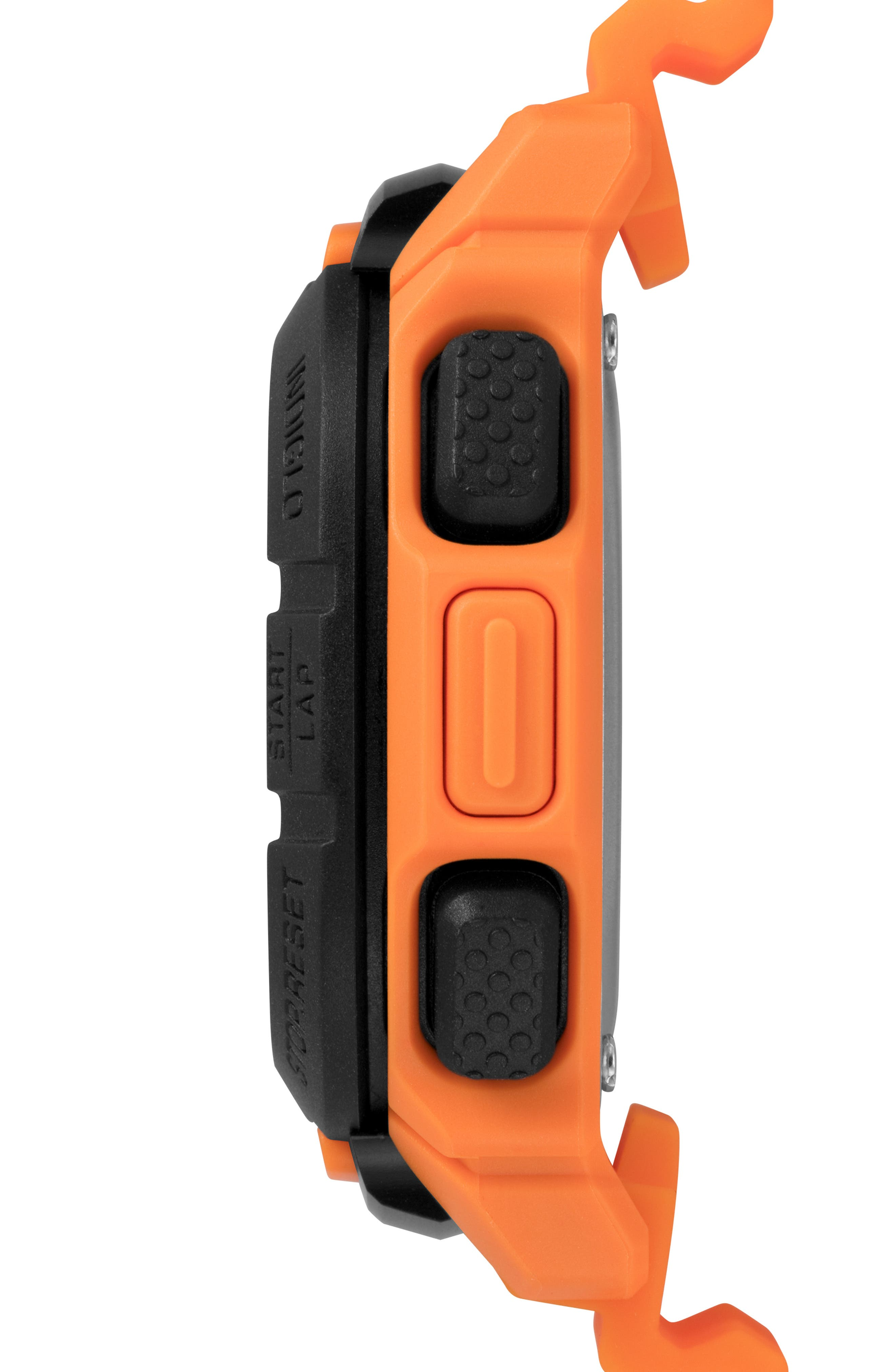 TIMEX<SUP>®</SUP>, Boost Shock Resistant Digital Silicone Strap Watch, 47mm, Alternate thumbnail 2, color, ORANGE/ BLACK
