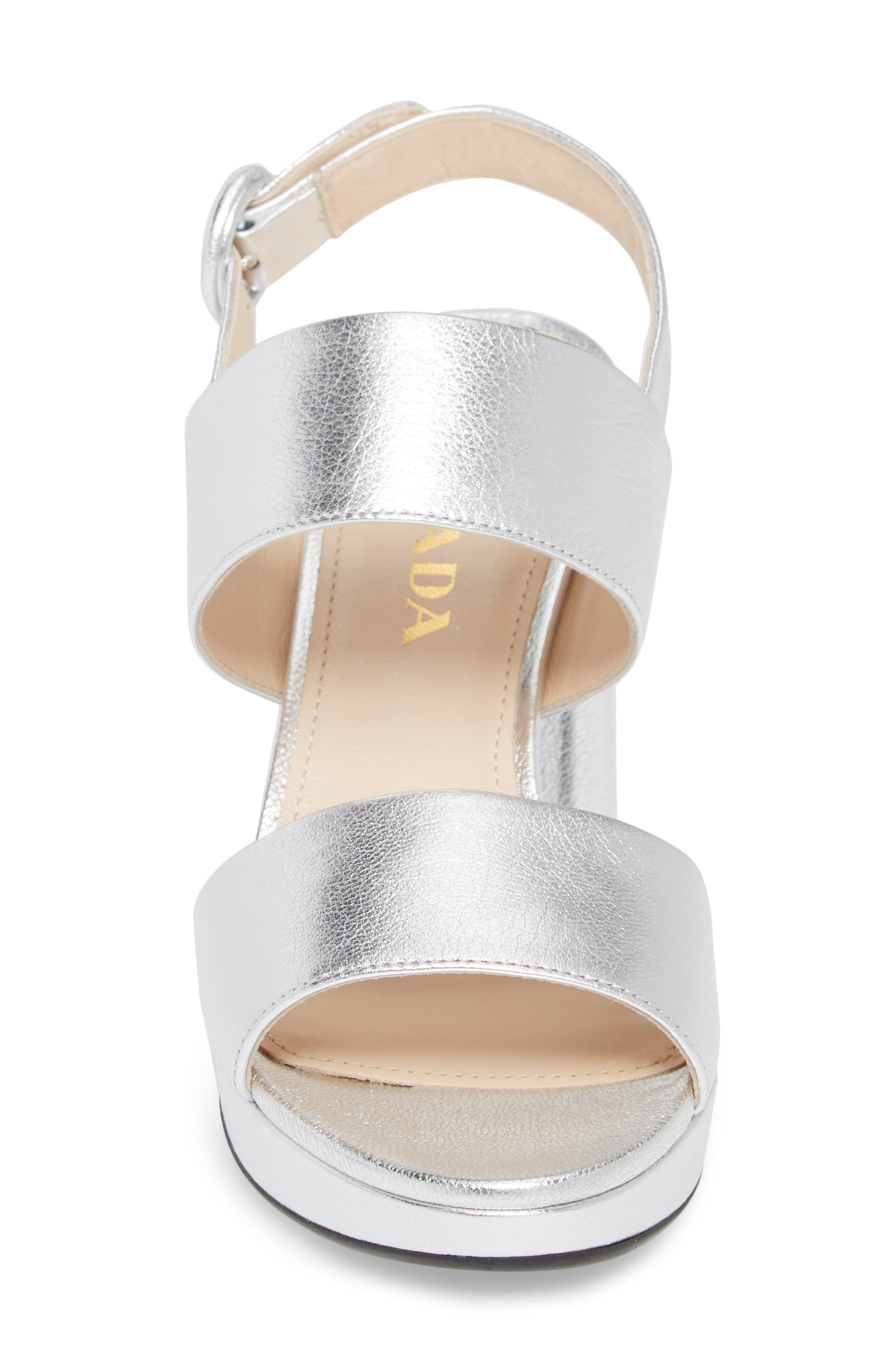 PRADA, Double Band Platform Sandal, Alternate thumbnail 4, color, SILVER