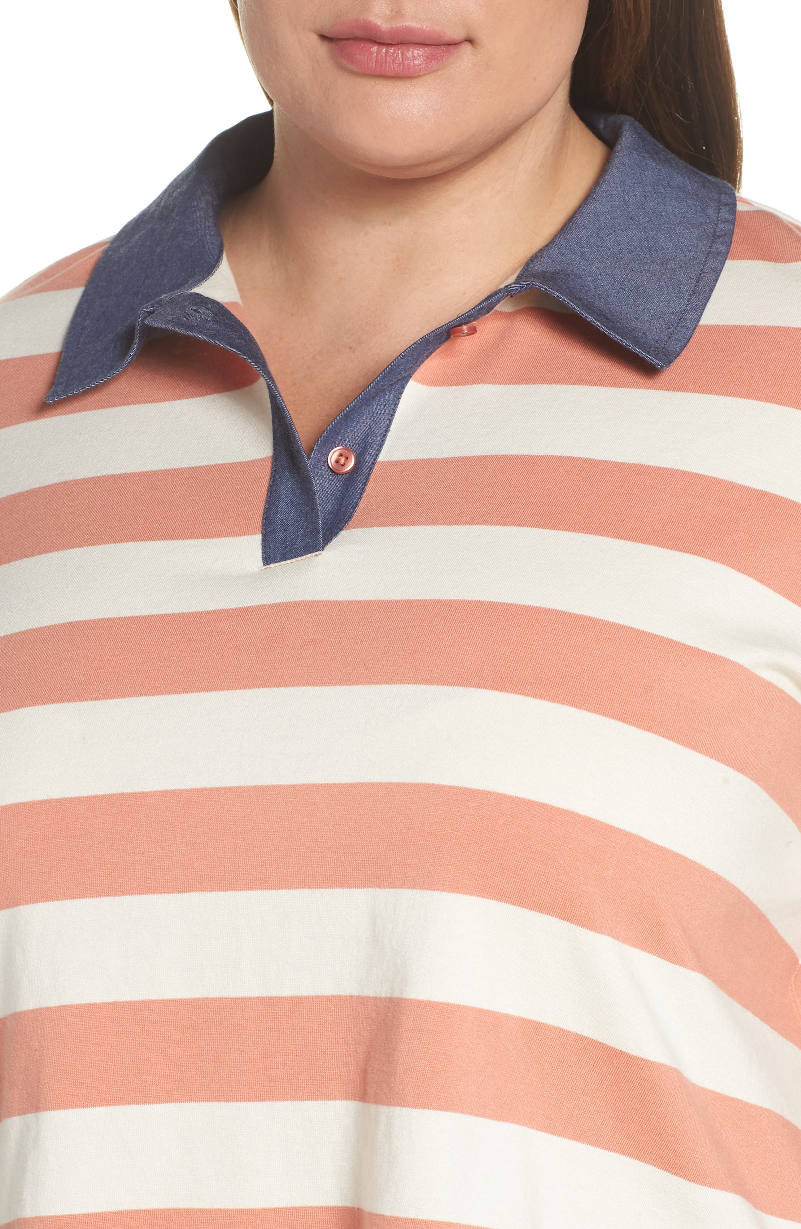 BP., Chambray Collar Polo, Alternate thumbnail 10, color, CORAL CLAY ROCKYPORT STRIPE