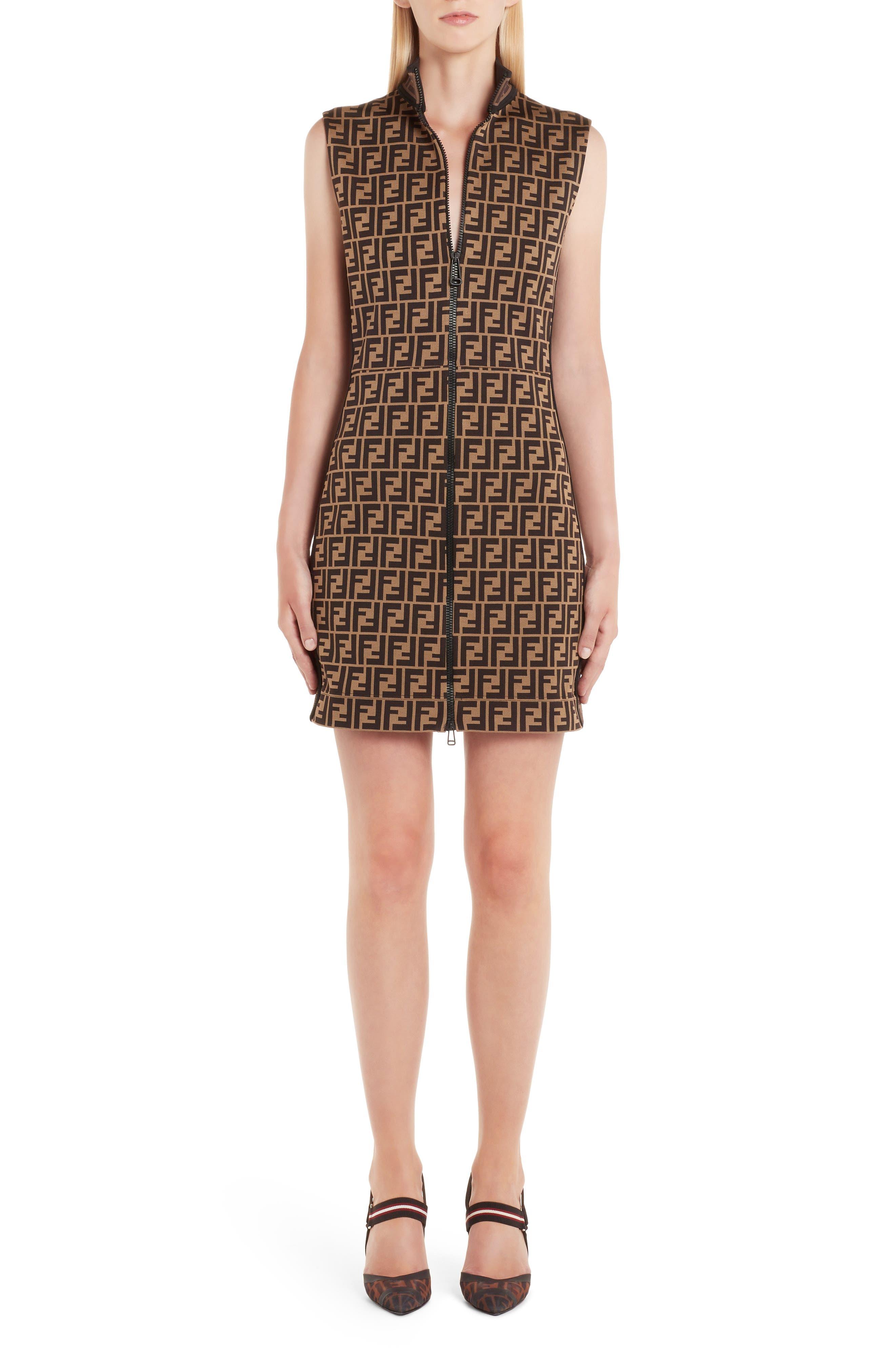 Fendi Ff Logo Zip Front Jersey Dress, US / 42 IT - Brown
