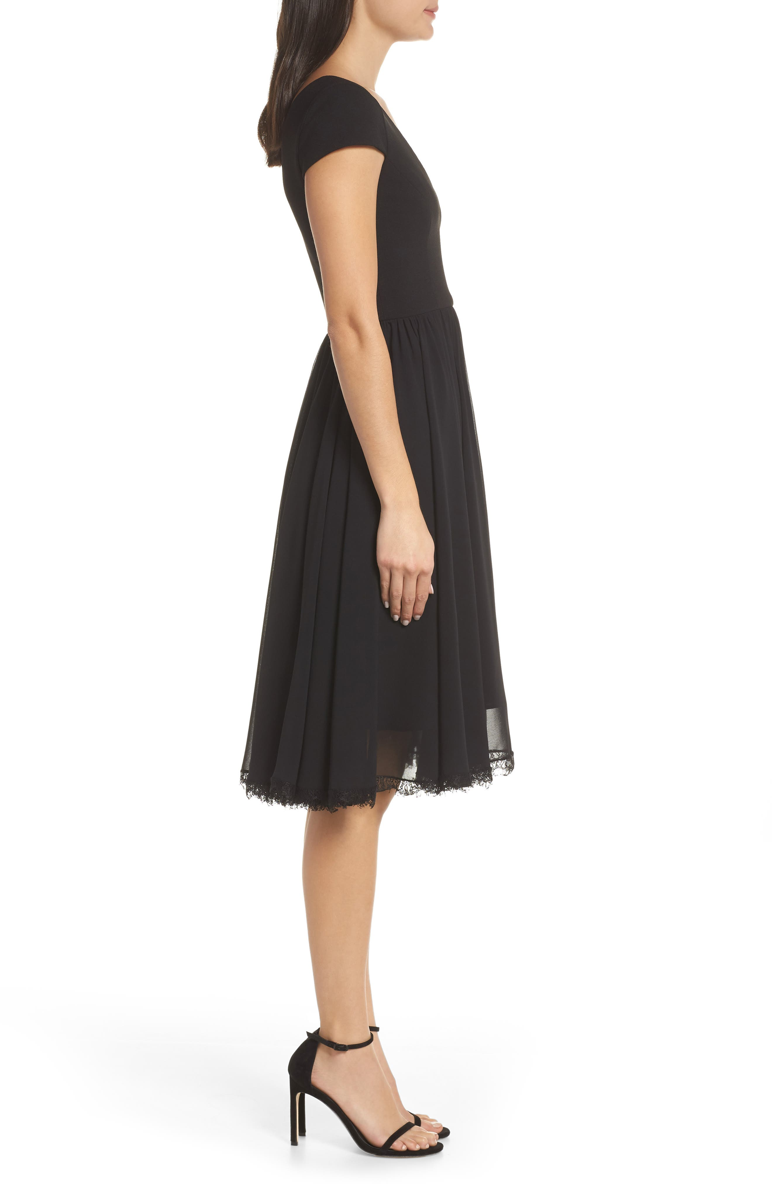 DRESS THE POPULATION, Corey Chiffon Fit & Flare Dress, Alternate thumbnail 4, color, BLACK