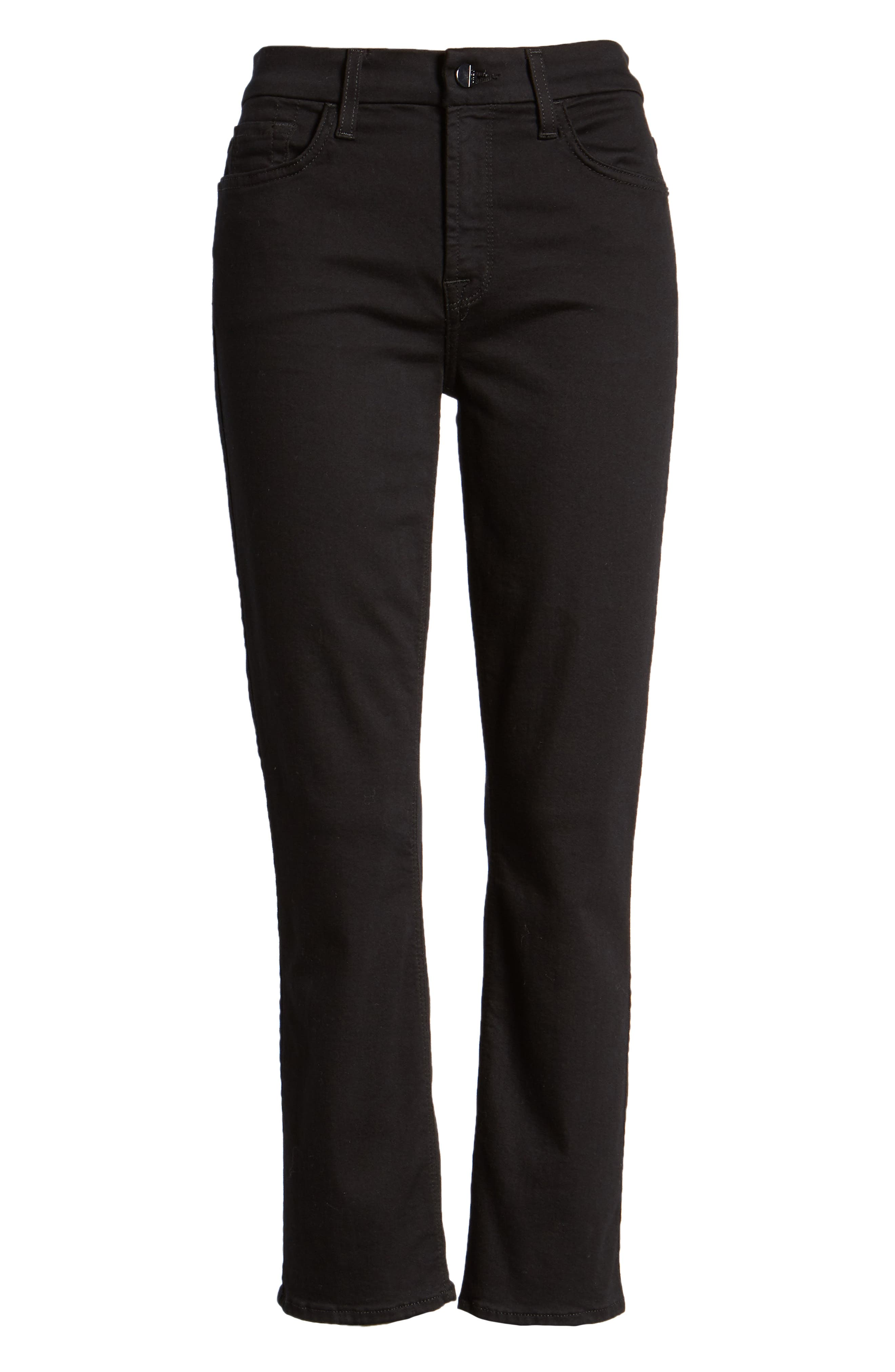 JEN7 BY 7 FOR ALL MANKIND, Stretch Crop Straight Leg Jeans, Alternate thumbnail 6, color, BLACK