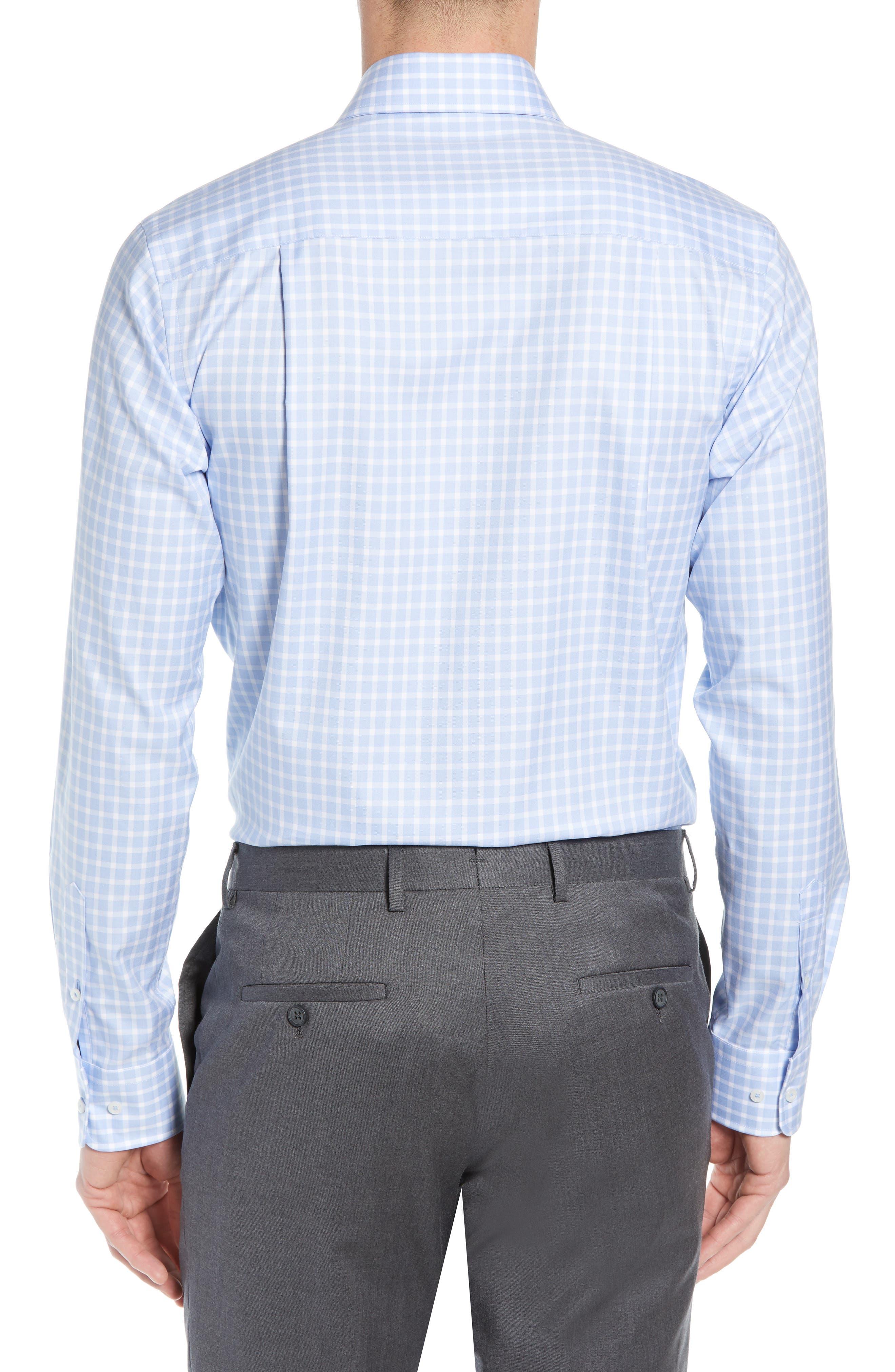 DAVID DONAHUE, Trim Fit Check Dress Shirt, Alternate thumbnail 3, color, BLUE