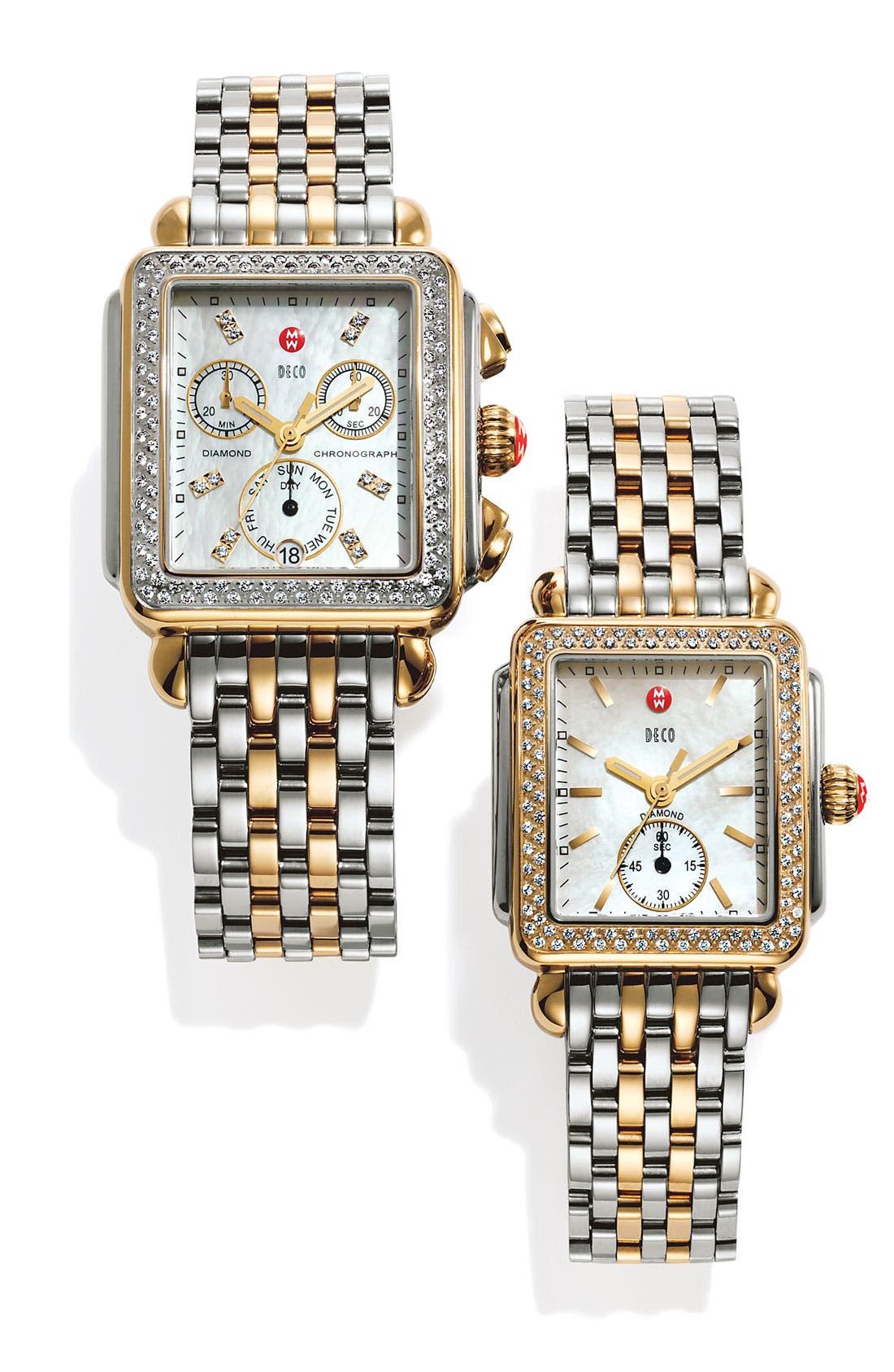 MICHELE, Deco 16 16mm Two-Tone Bracelet Watchband, Alternate thumbnail 6, color, SILVER/ GOLD