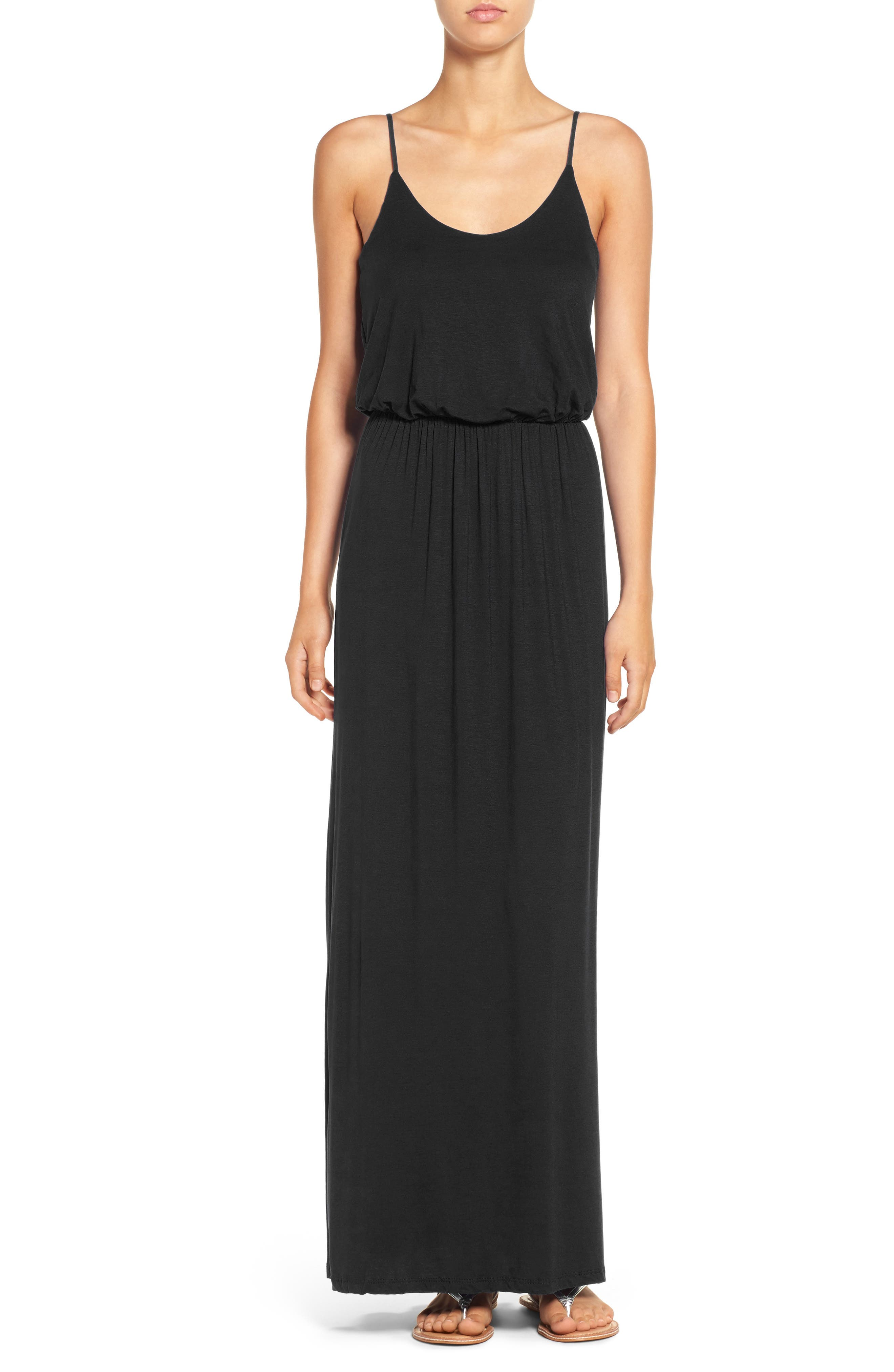 ---, Knit Maxi Dress, Main thumbnail 1, color, BLACK