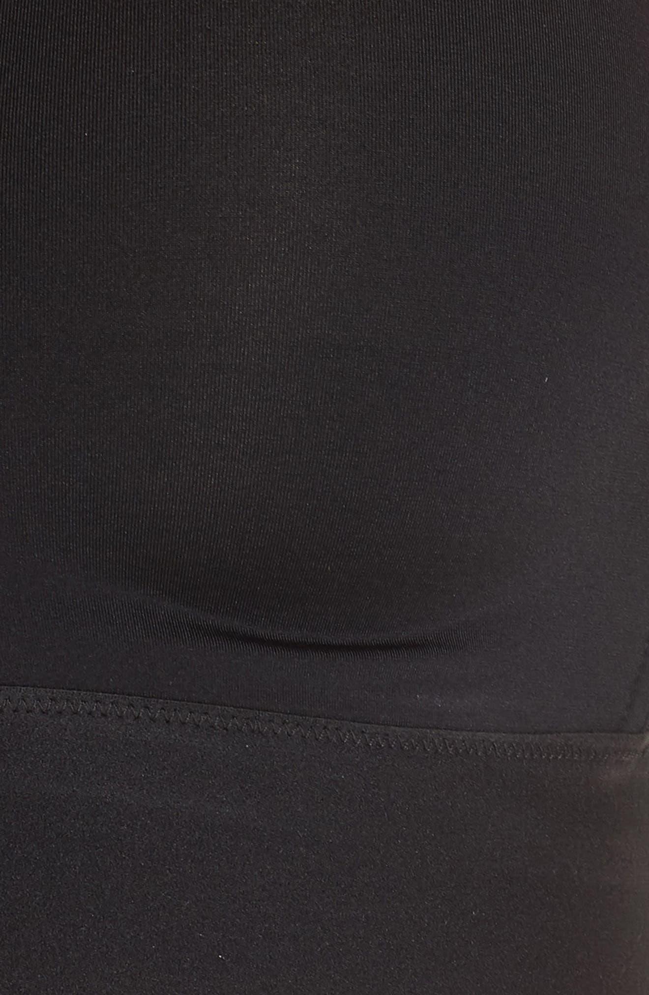 SPANX<SUP>®</SUP>, Workout to Waves Mesh Panel Sports Bra, Alternate thumbnail 6, color, BLACK